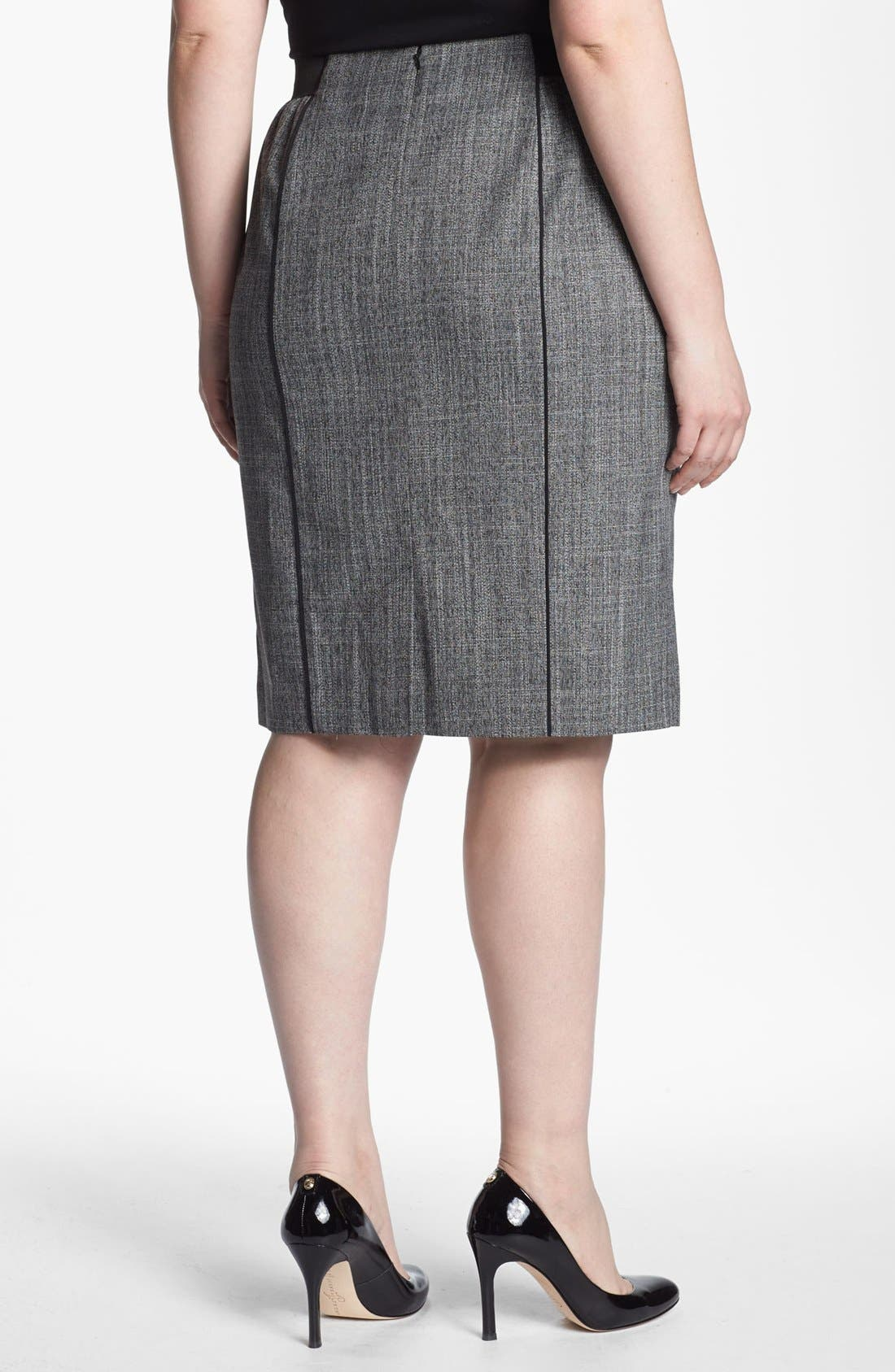 Alternate Image 2  - Sejour 'Gibson' Piped Pencil Skirt (Plus Size)