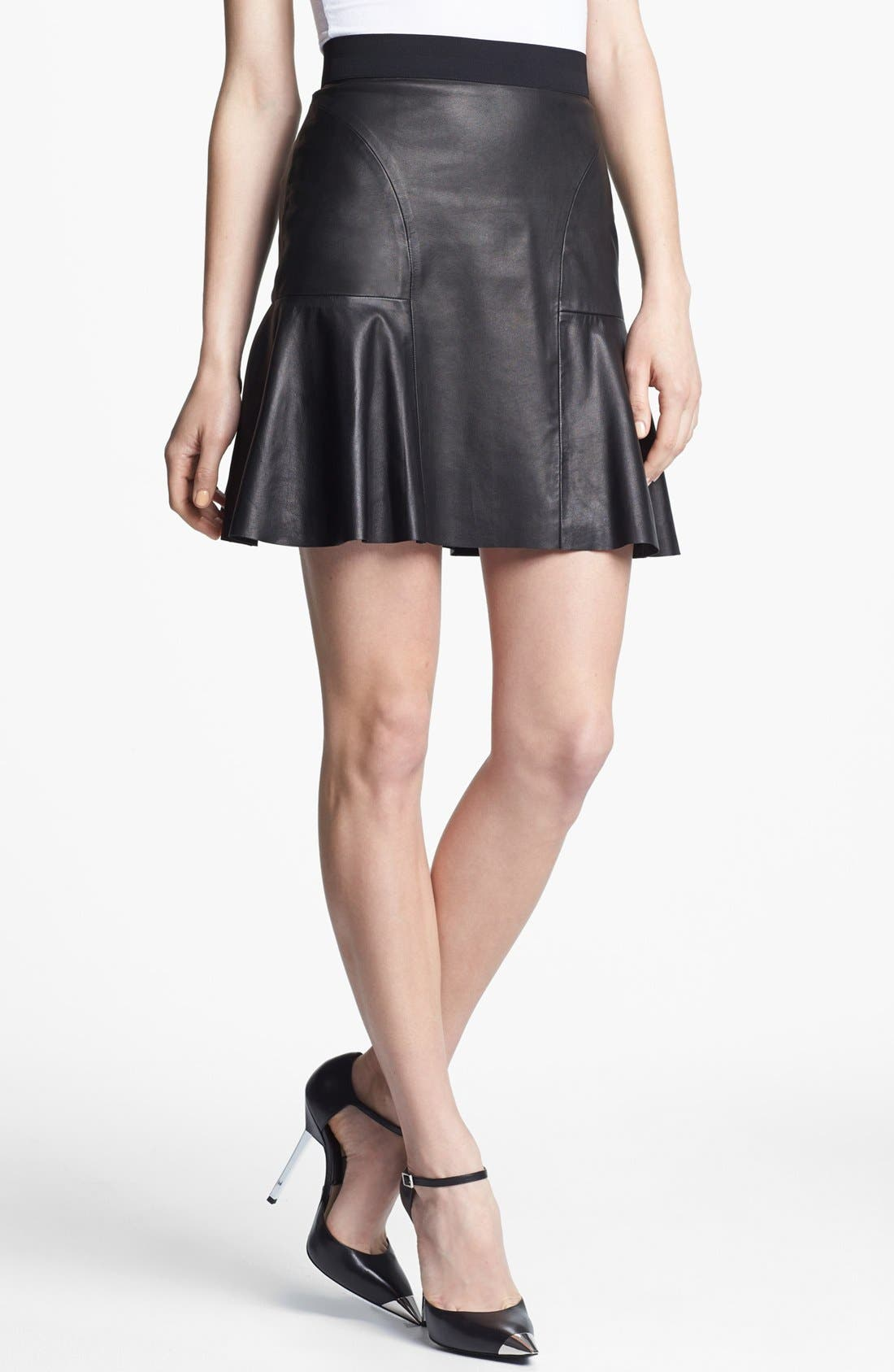Alternate Image 1 Selected - Rebecca Taylor Leather Skirt