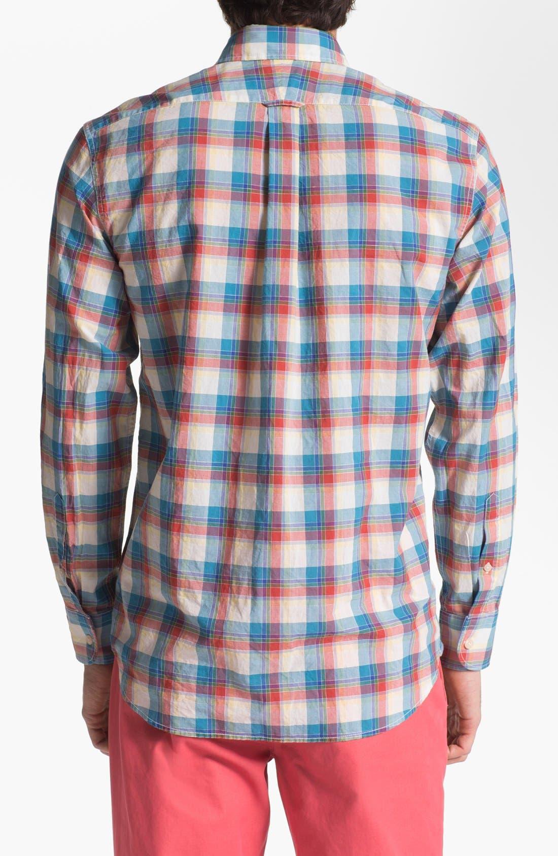 Alternate Image 2  - Façonnable Tailored Denim Plaid Sport Shirt
