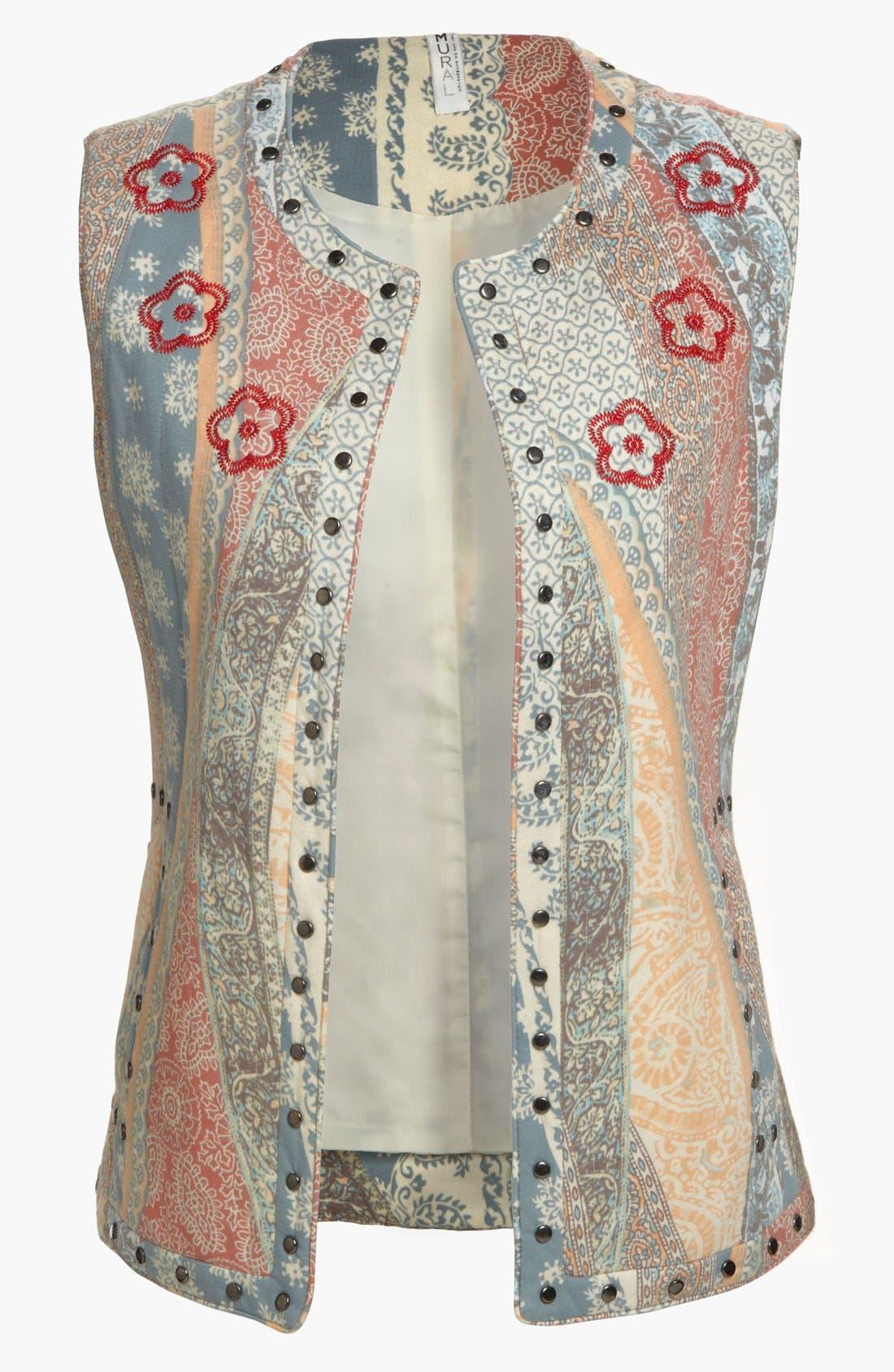 Alternate Image 1 Selected - Mural Flowing Floral Vest