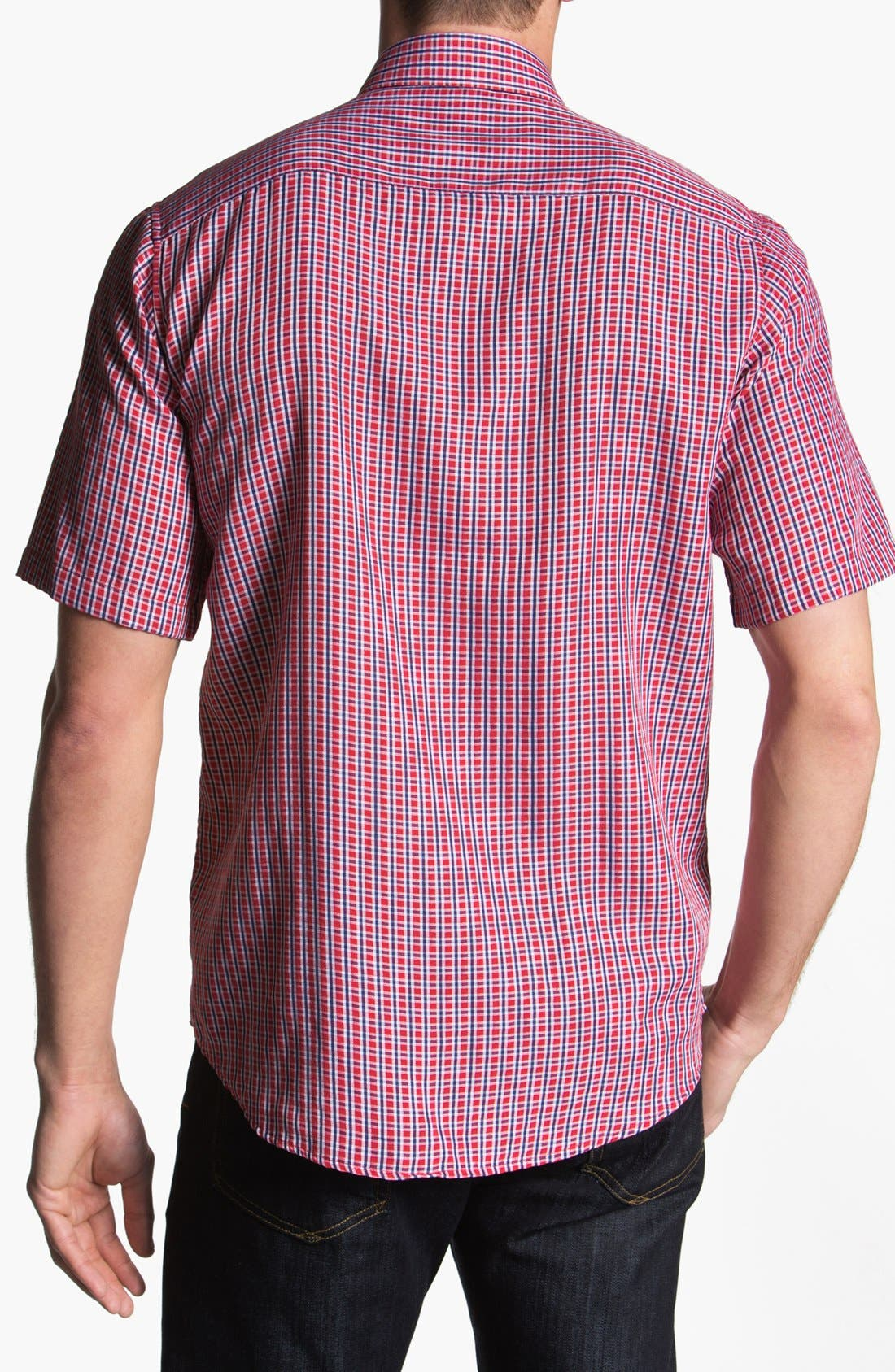 Alternate Image 2  - BUGATCHI Classic Fit Short Sleeve Sport Shirt