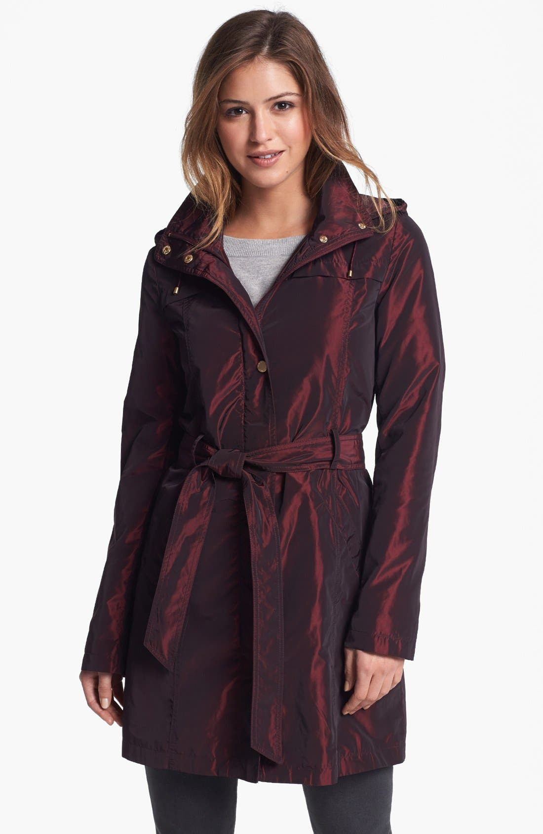Main Image - Ellen Tracy Iridescent Packable Trench Coat