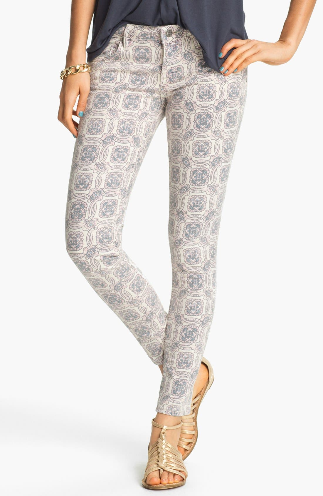 Alternate Image 1 Selected - Vigoss Print Skinny Jeans (Pink) (Juniors)