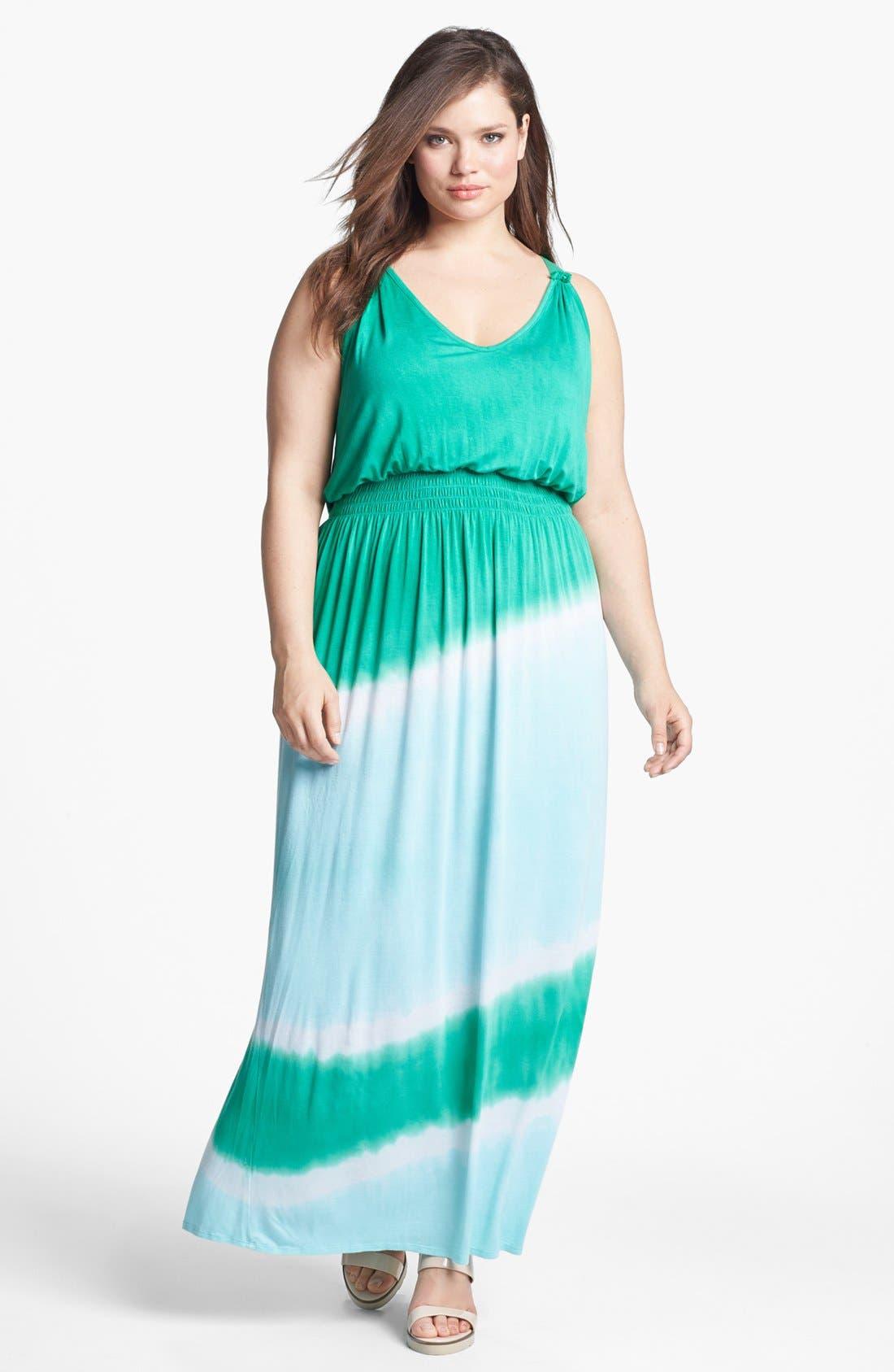 Main Image - Loveappella Tie Dye Maxi Dress (Plus Size)