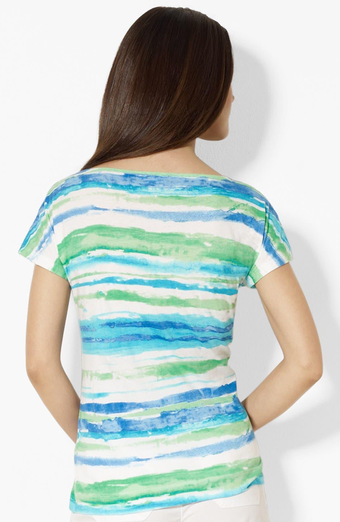 Alternate Image 2  - Lauren Ralph Lauren Dolman Sleeve Stripe Top