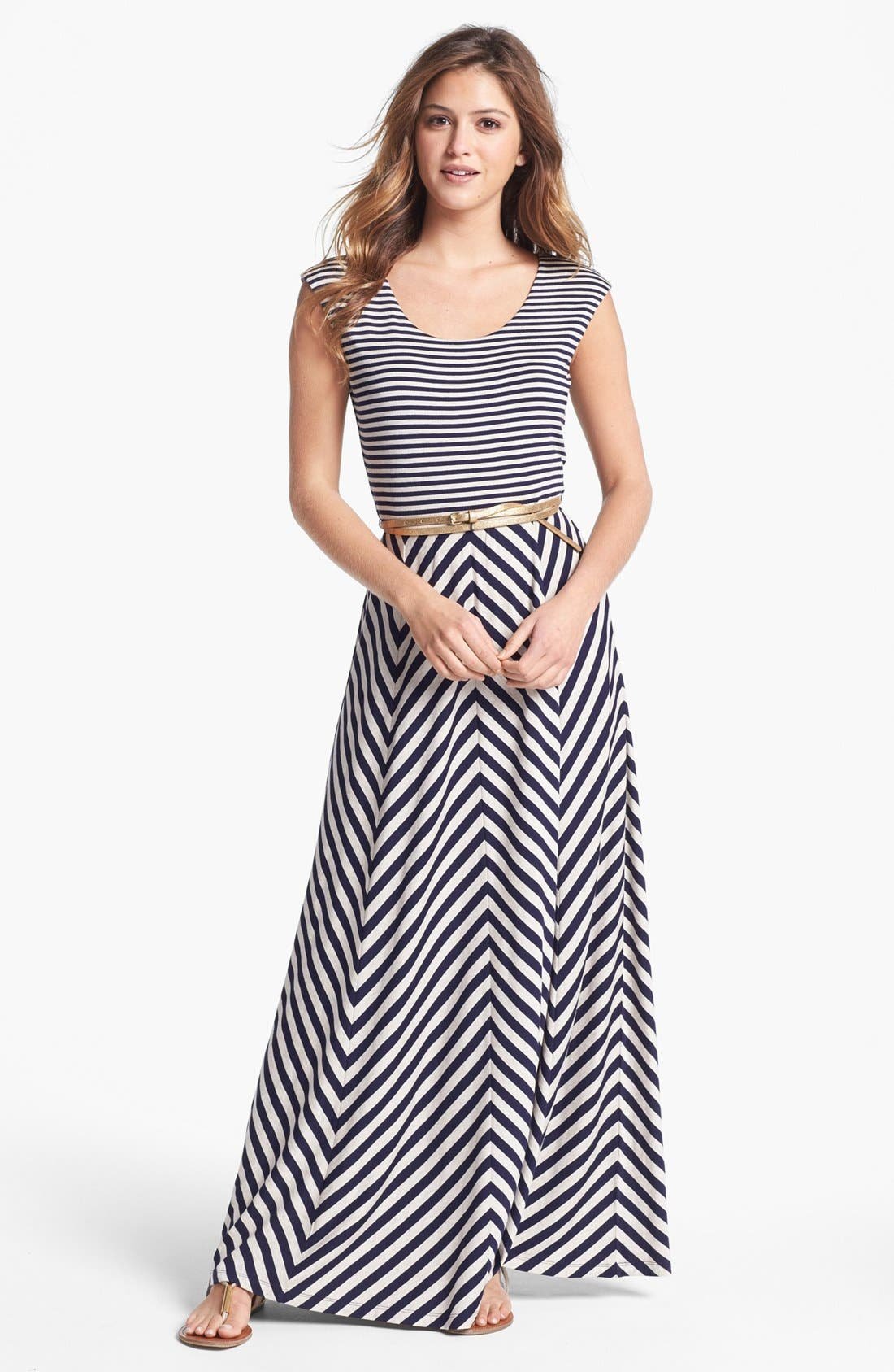 Main Image - Calvin Klein Belted Multi Print Jersey Maxi Dress