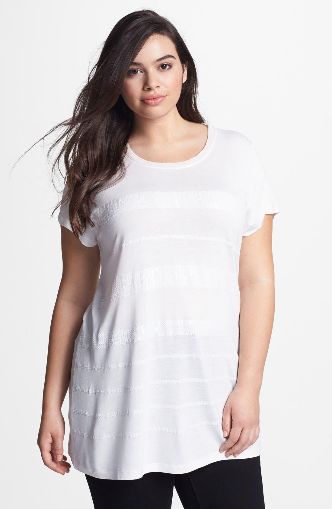 Alternate Image 1 Selected - Kische Sequin Stripe Tunic (Plus Size)