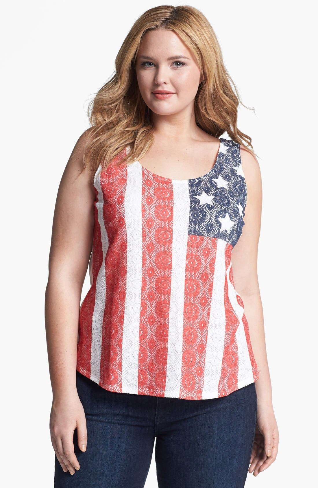 Main Image - Lucky Brand Lace Flag Tank (Plus)