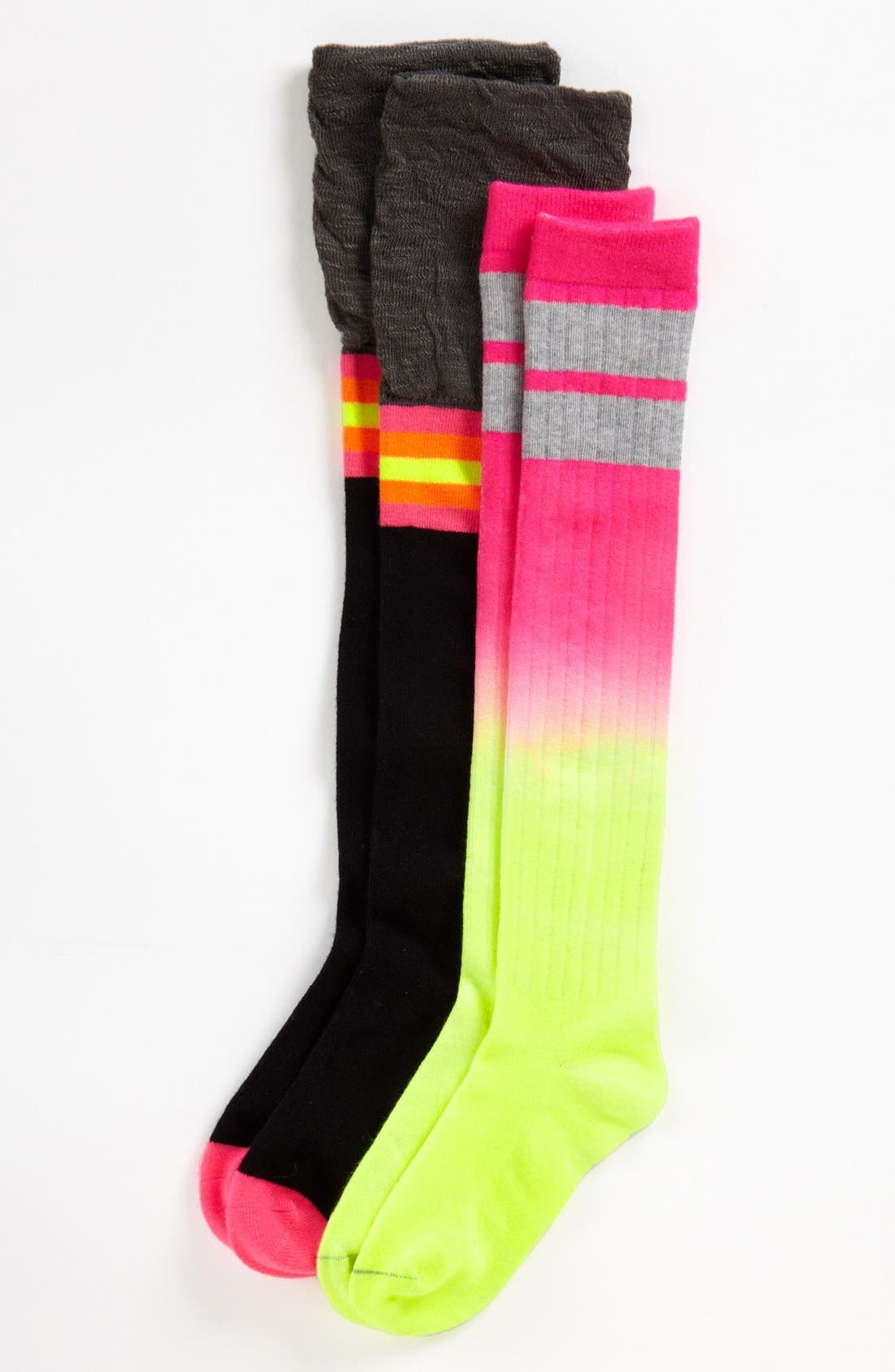 Alternate Image 1 Selected - Nordstrom 'Marled Dip' Knee High Socks (2-Pack) (Toddler, Little Girls & Big Girls)