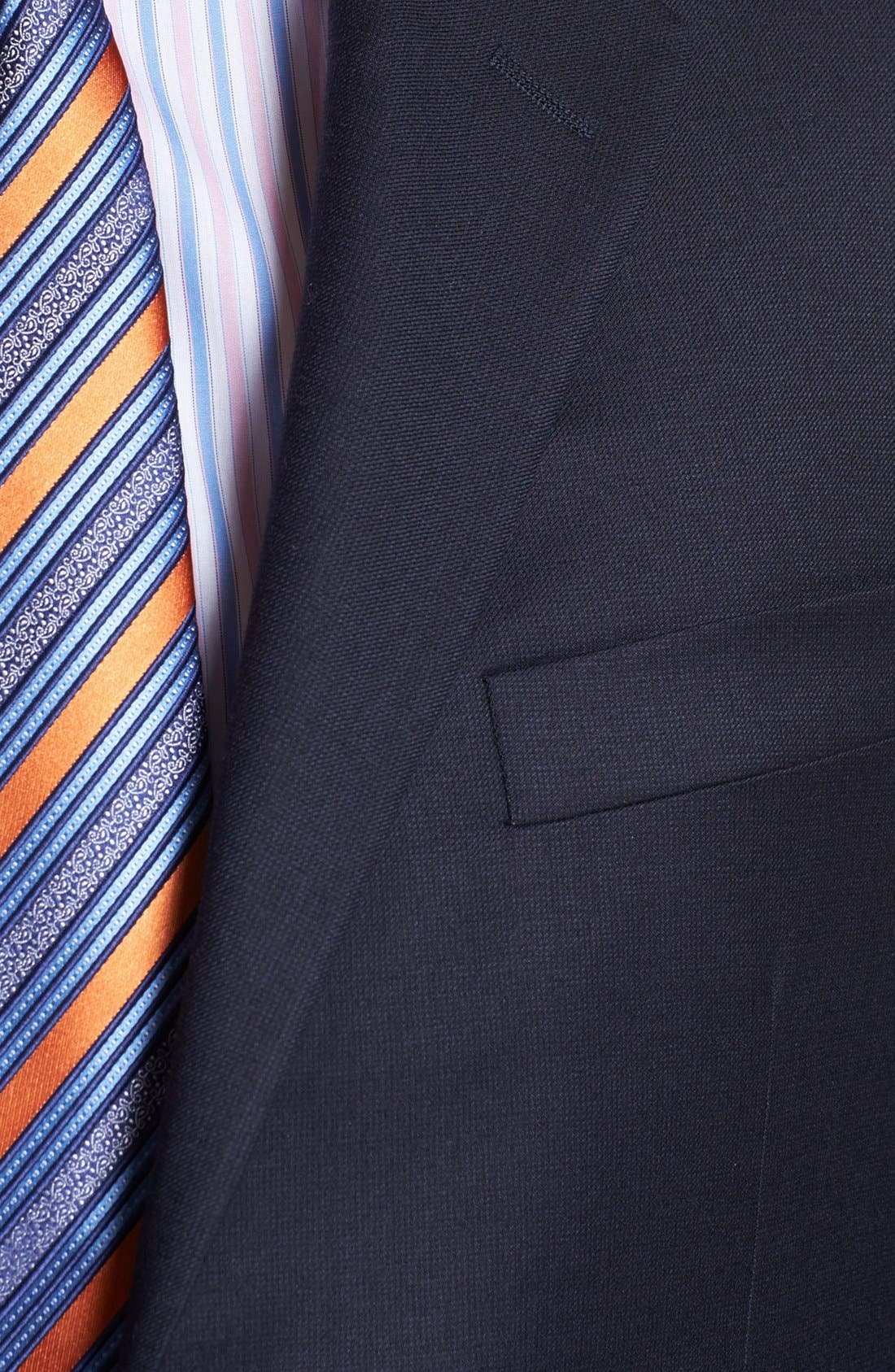 Alternate Image 2  - Hickey Freeman Navy Worsted Wool Suit