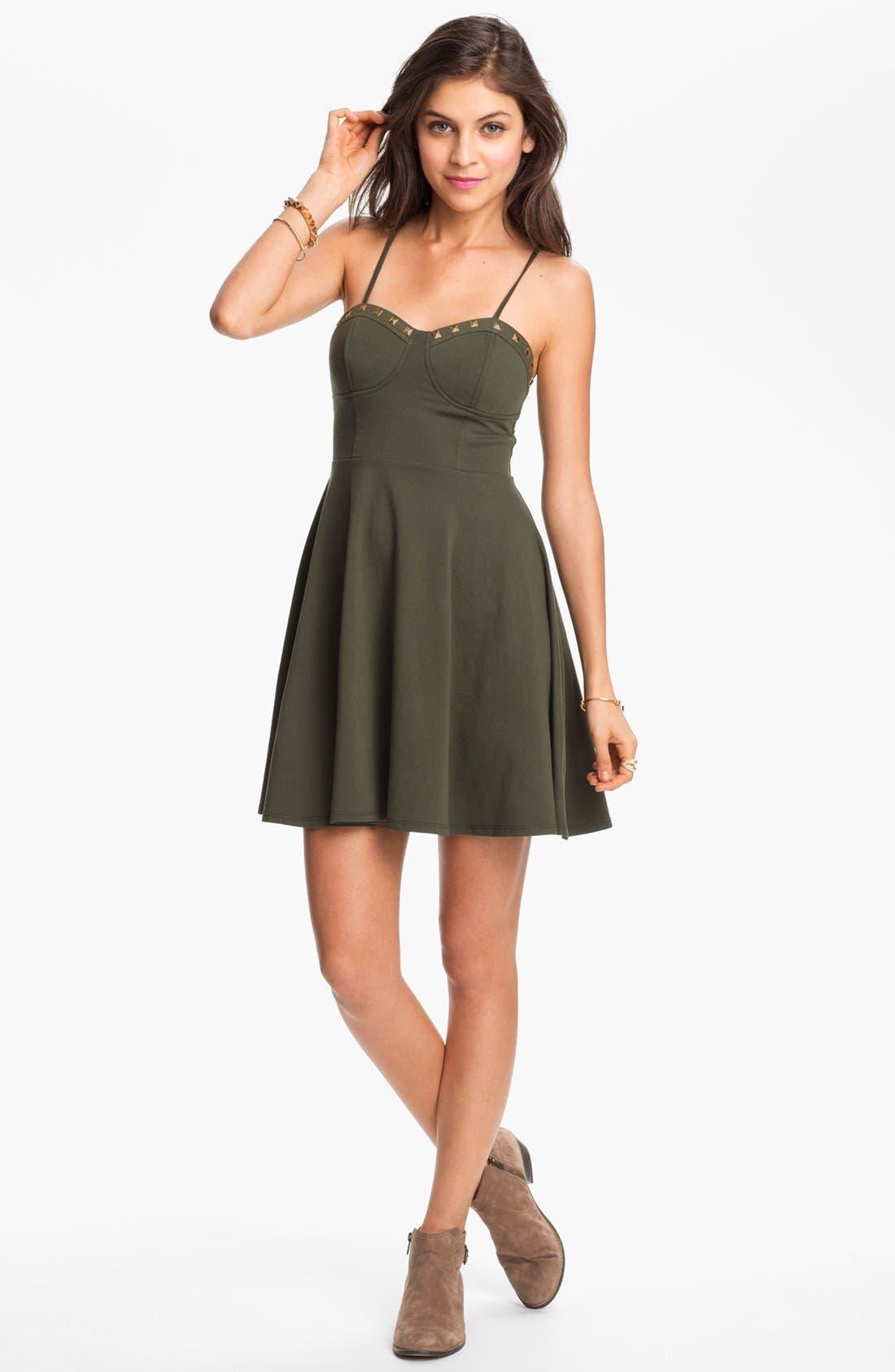 Main Image - Fire Studded Bustier Dress (Juniors) (Online Only)