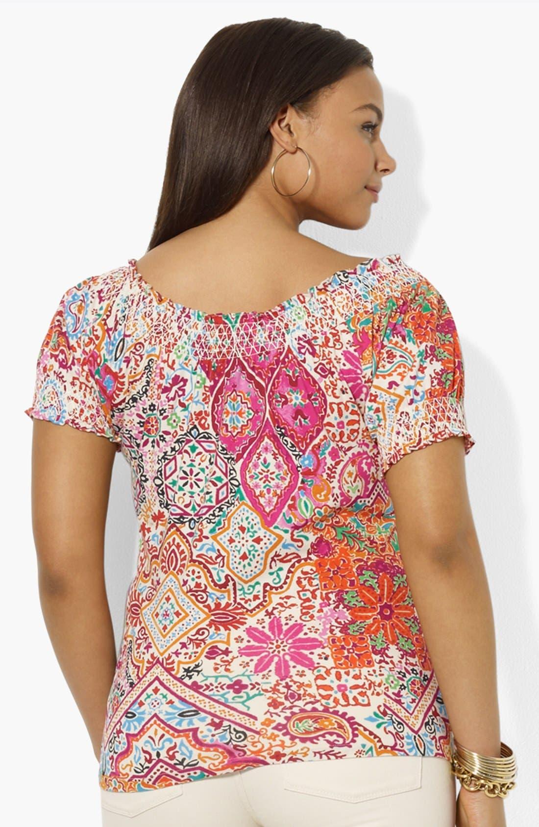 Alternate Image 2  - Lauren Ralph Lauren Print Smocked Top (Plus Size)