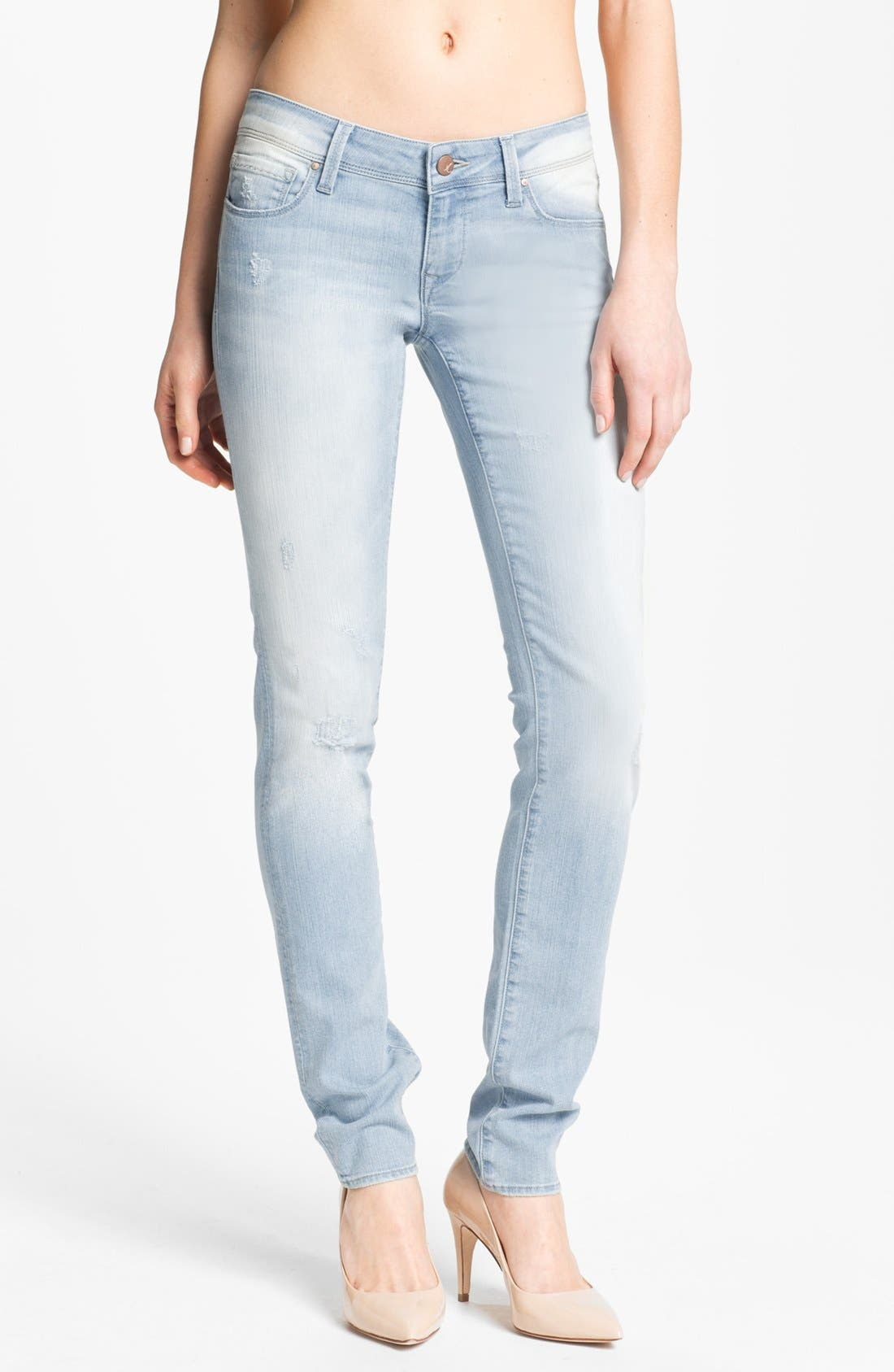 Alternate Image 1 Selected - Mavi Jeans 'Serena' Low Rise Super Skinny Jeans (Bleached Nolita)