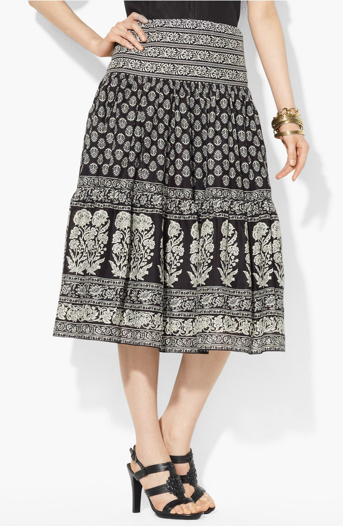 Alternate Image 1 Selected - Lauren Ralph Lauren Tiered Cotton Skirt