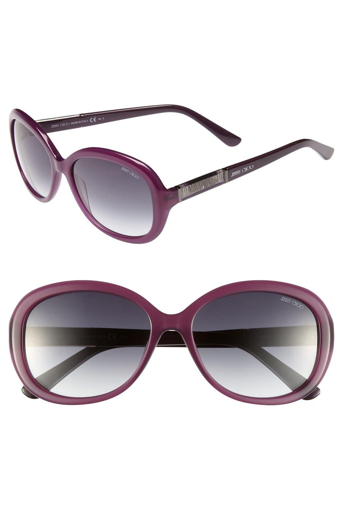 'Monique' 56mm Classic Sunglasses,                         Main,                         color, Blue Pearl Grey/ Grey Gradient