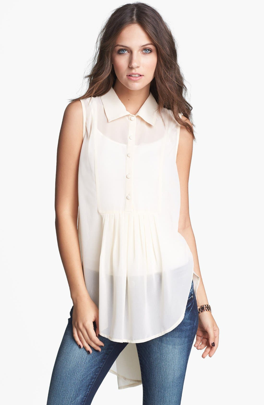 Main Image - Haute Society Pleat High/Low Tunic (Juniors)