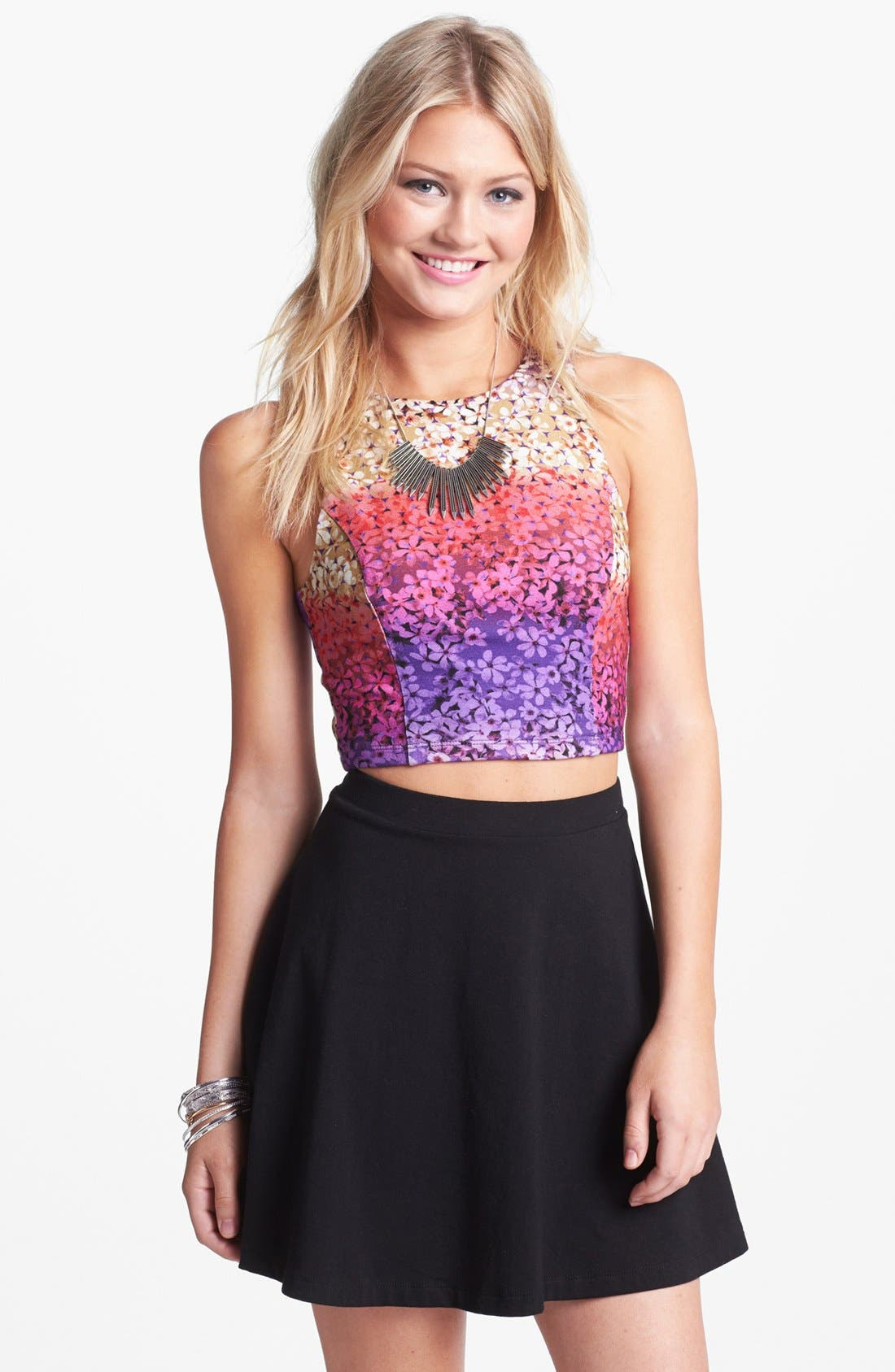 Alternate Image 1 Selected - Lily White Seamed Crop Tank (Juniors)
