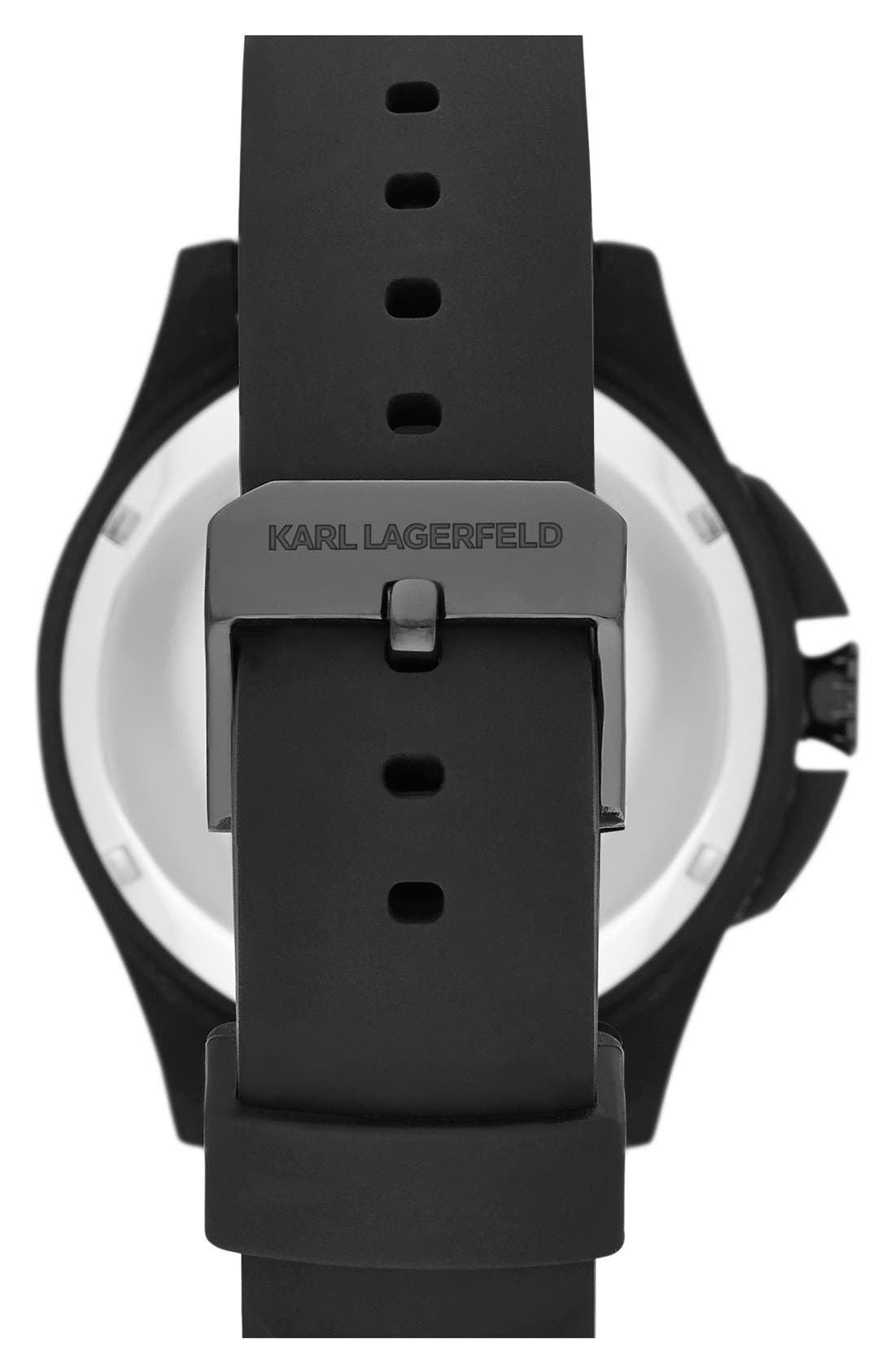 Alternate Image 2  - KARL LAGERFELD '7' Beveled Bezel Silicone Strap Watch, 44mm