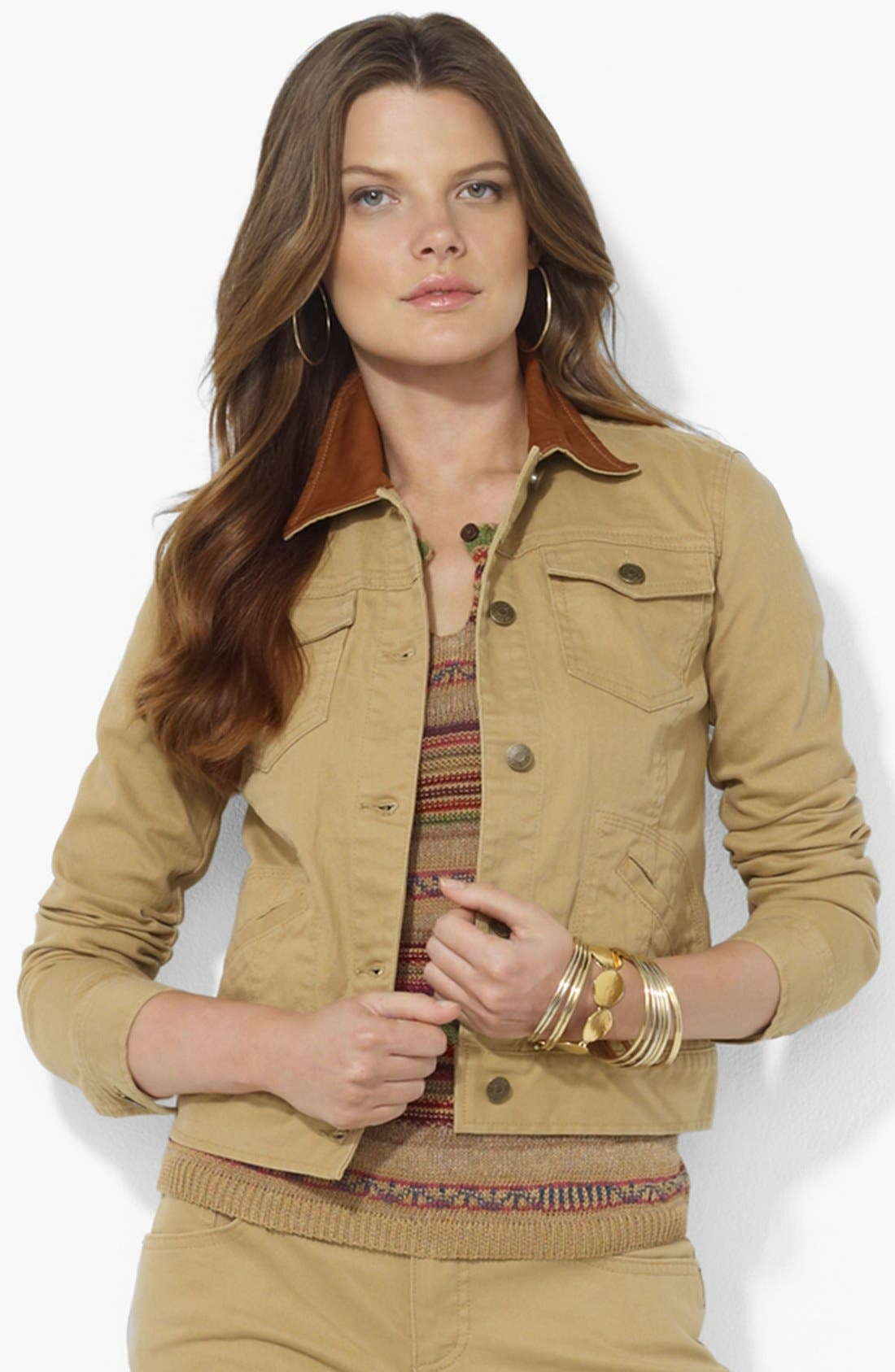 Main Image - Lauren Ralph Lauren Leather Collar Jean Jacket (Petite)