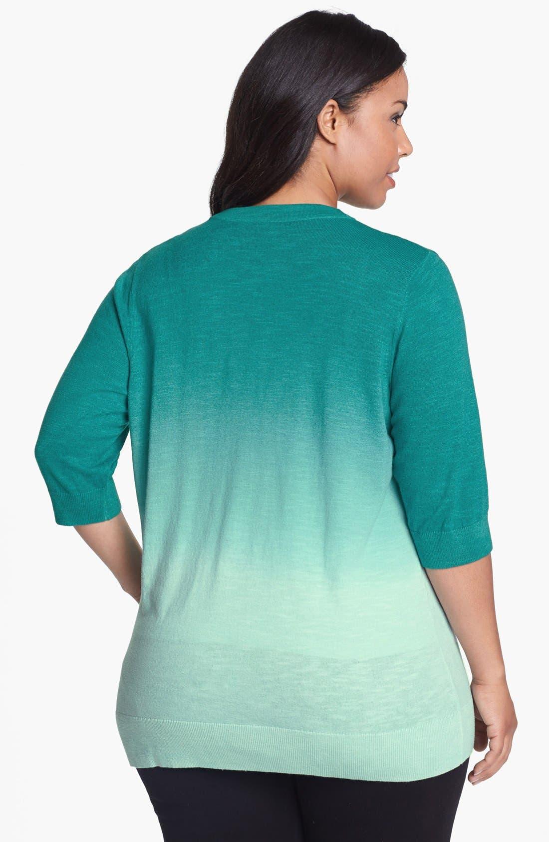 Alternate Image 2  - Sejour 'Girlfriend' Ombré Cardigan (Plus Size)