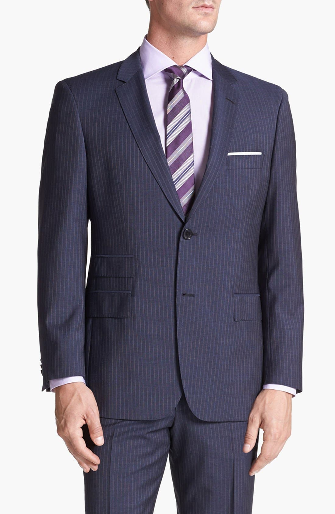 Alternate Image 4  - BOSS HUGO BOSS 'Edison/Power' Classic Fit Stripe Suit