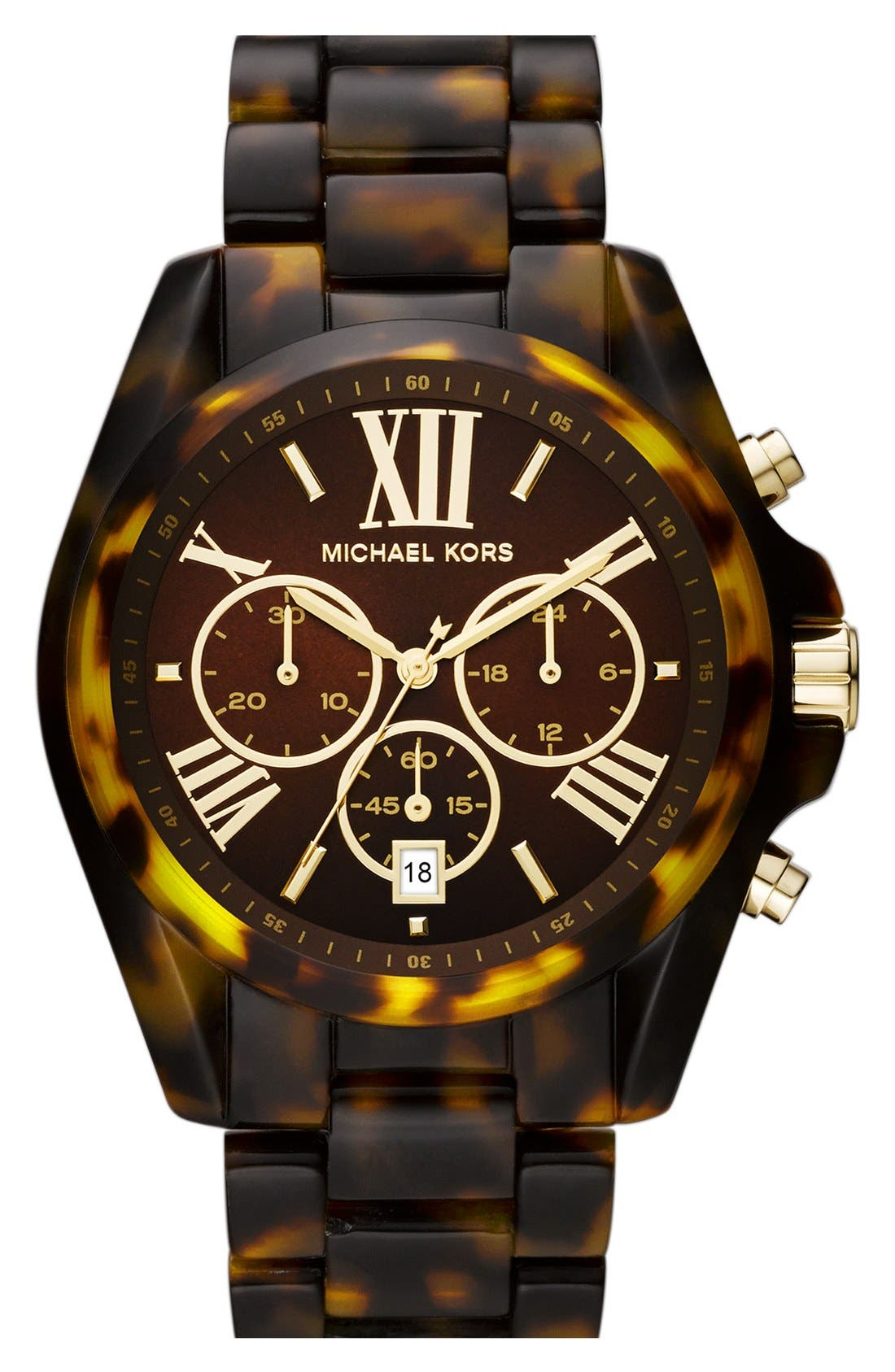 Main Image - Michael Kors 'Bradshaw' Chronograph Resin Bracelet Watch, 43mm