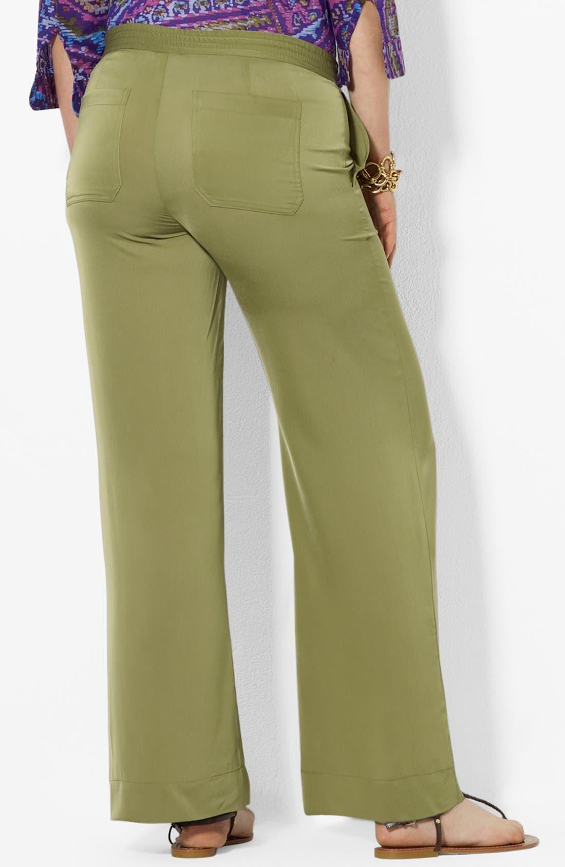 Alternate Image 2  - Lauren Ralph Lauren Satin Pants (Plus Size)
