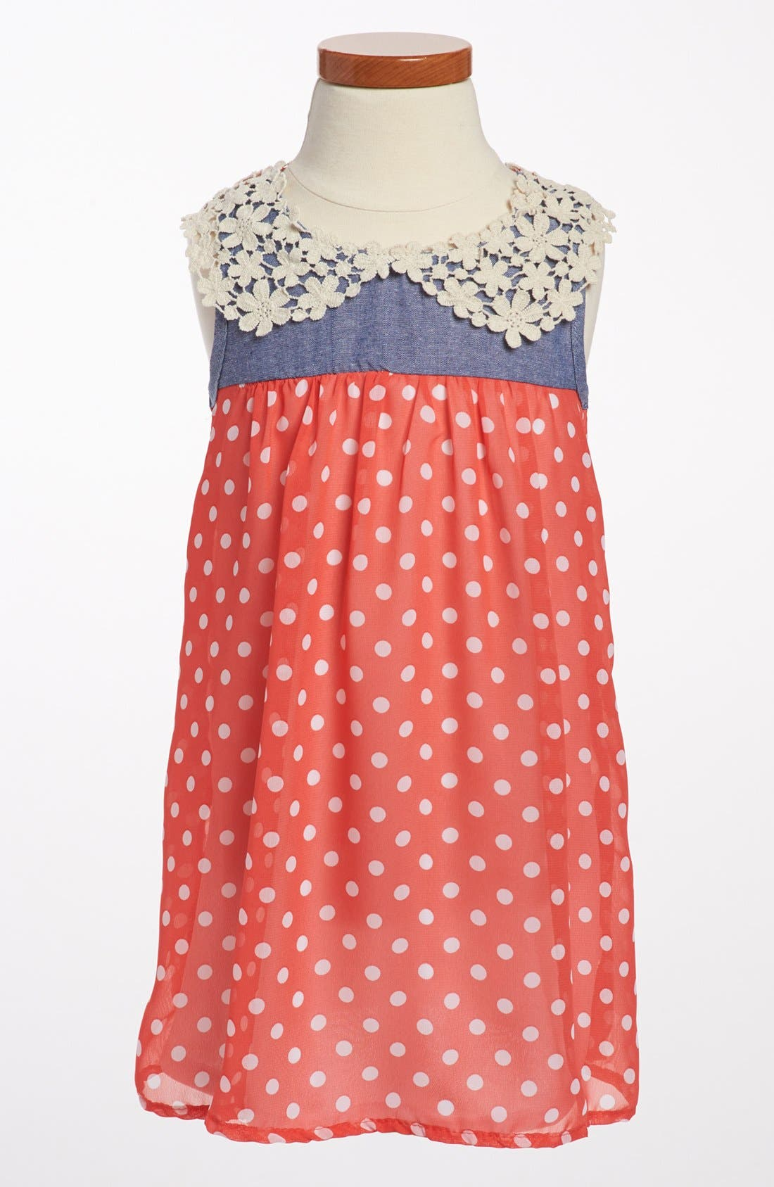 Main Image - Jenna & Jessie Polka Dot Chiffon Dress (Toddler Girls)