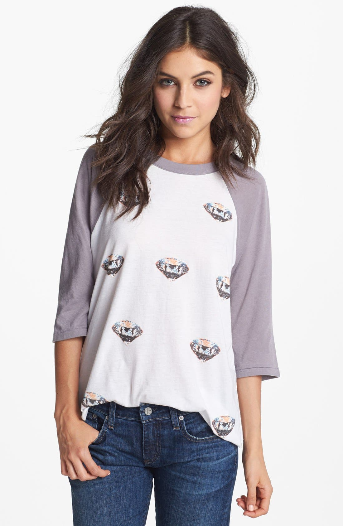 Alternate Image 1 Selected - Wildfox 'Diamonds Are Forever' Raglan Sleeve Top