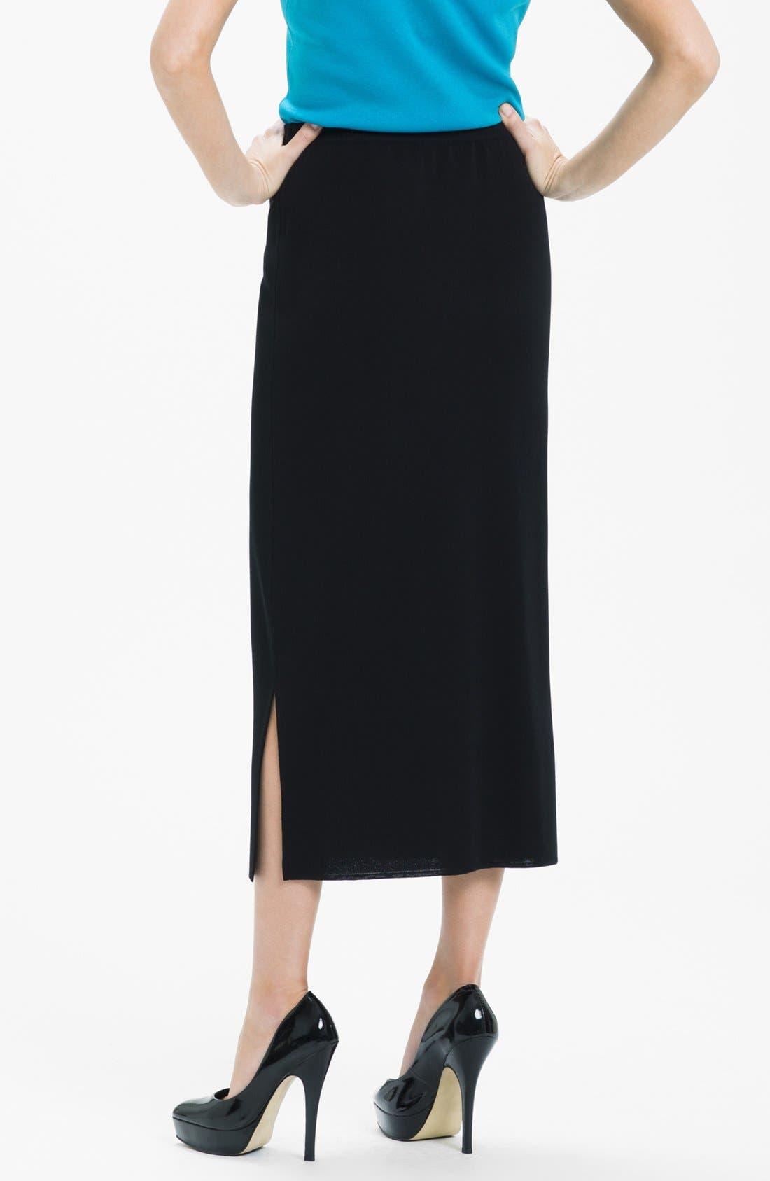 Side Slit Knit Midi Skirt,                             Alternate thumbnail 2, color,                             Black