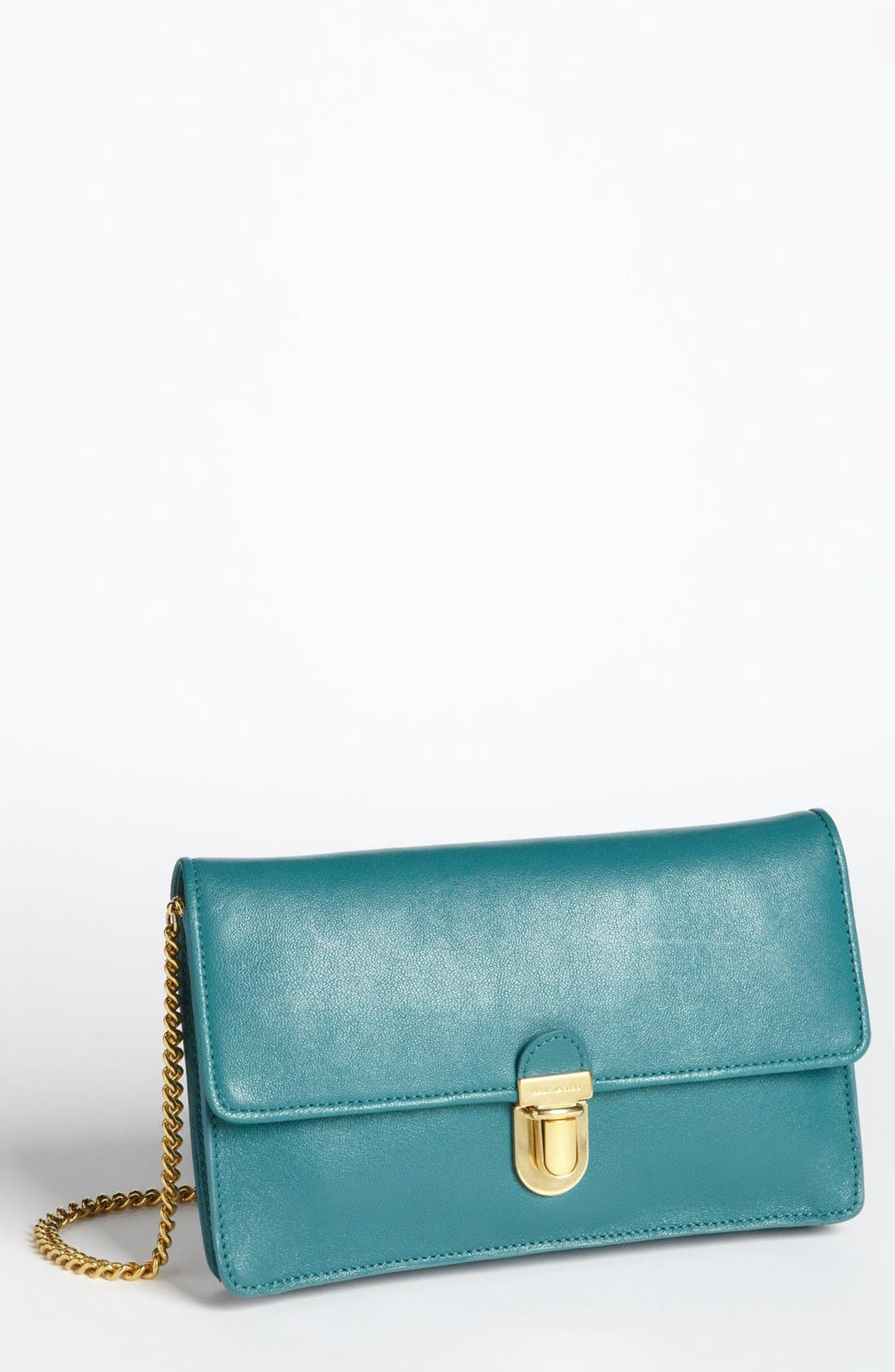 Leather Clutch,                             Main thumbnail 1, color,                             Peacock