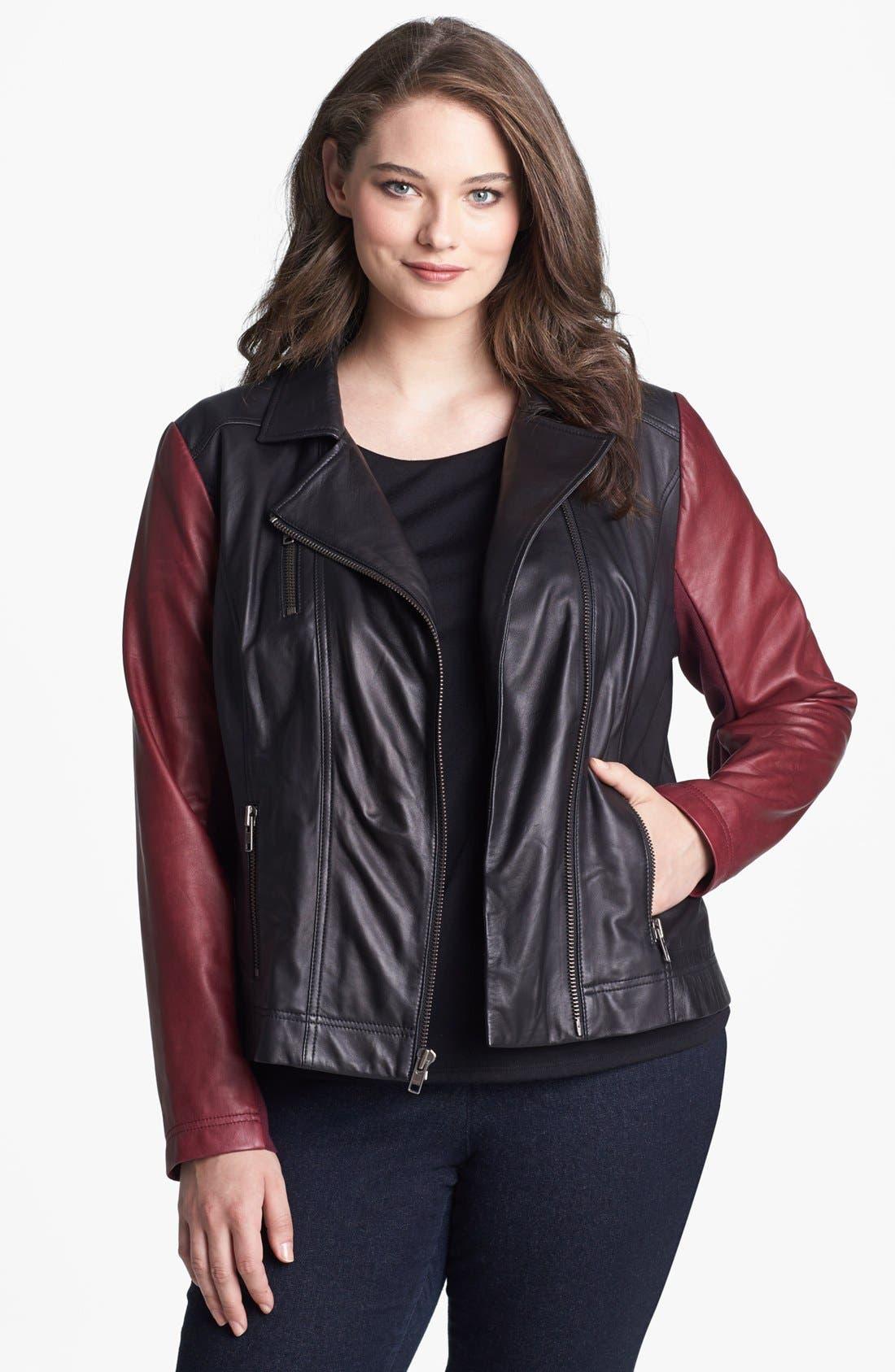 Alternate Image 1 Selected - Halogen® Colorblock Leather Moto Jacket (Plus Size)