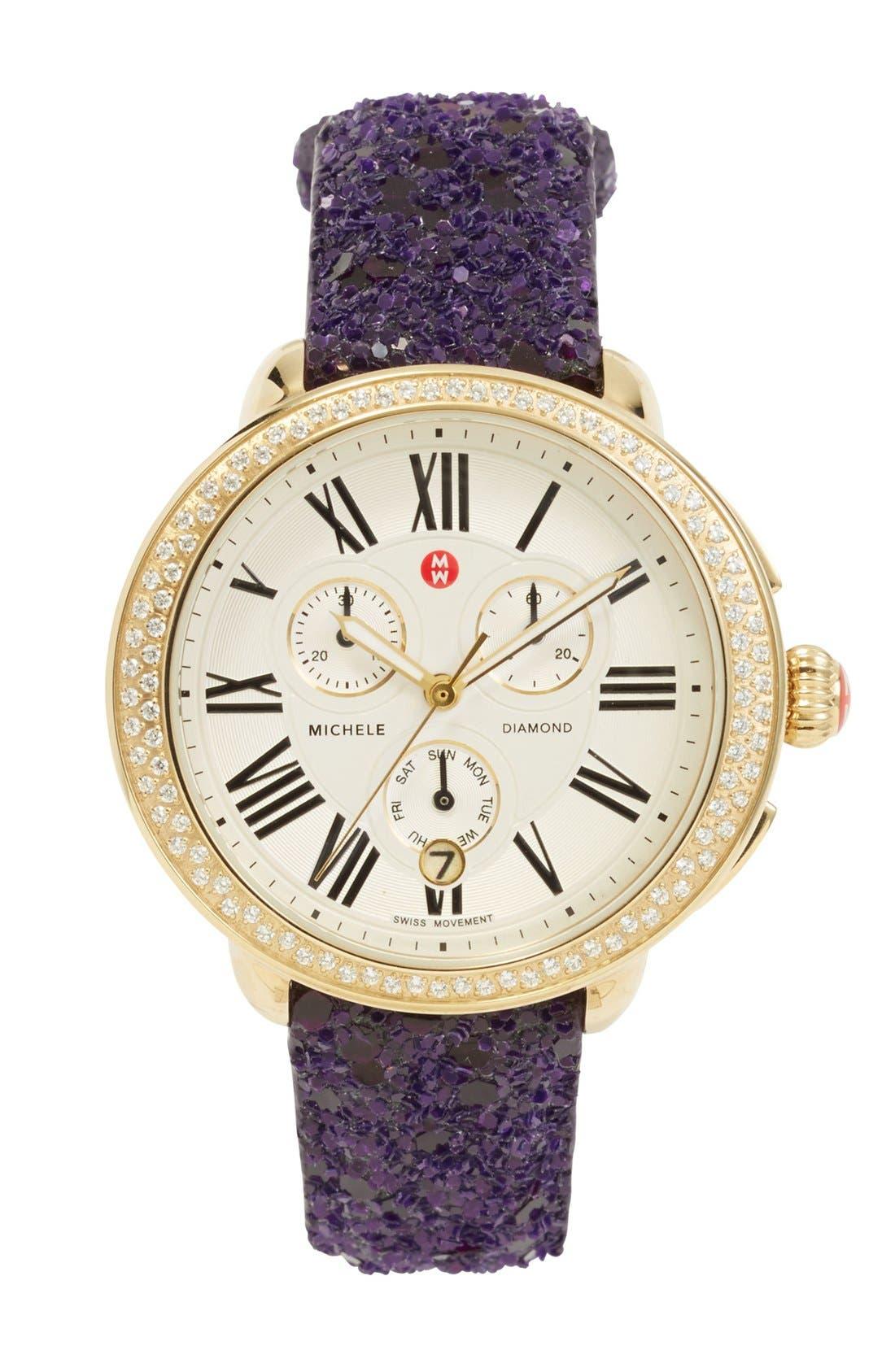 Alternate Image 2  - MICHELE 18mm Glitter Watch Strap