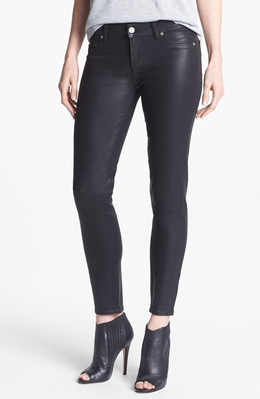 Alternate Image 1 Selected - Paige Denim 'Verdugo' Ankle Coated Skinny Jeans (Black Silk)