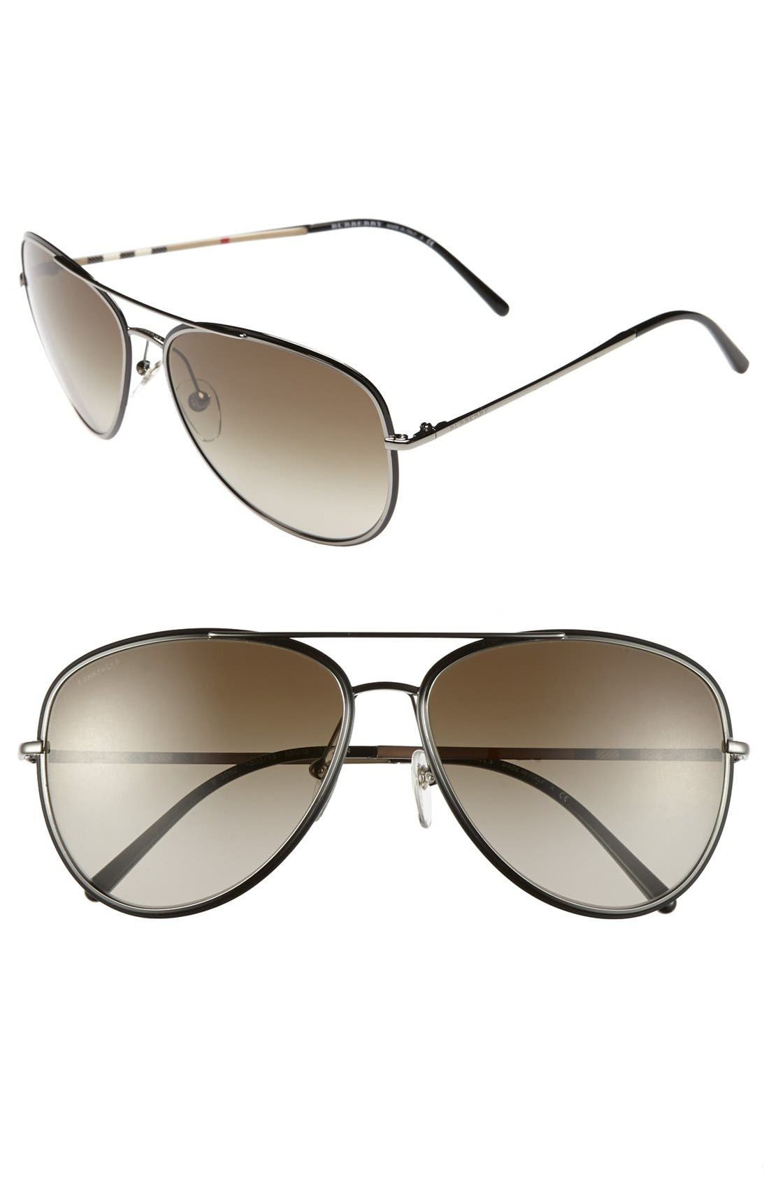 Main Image - Burberry 59mm Aviator Sunglasses
