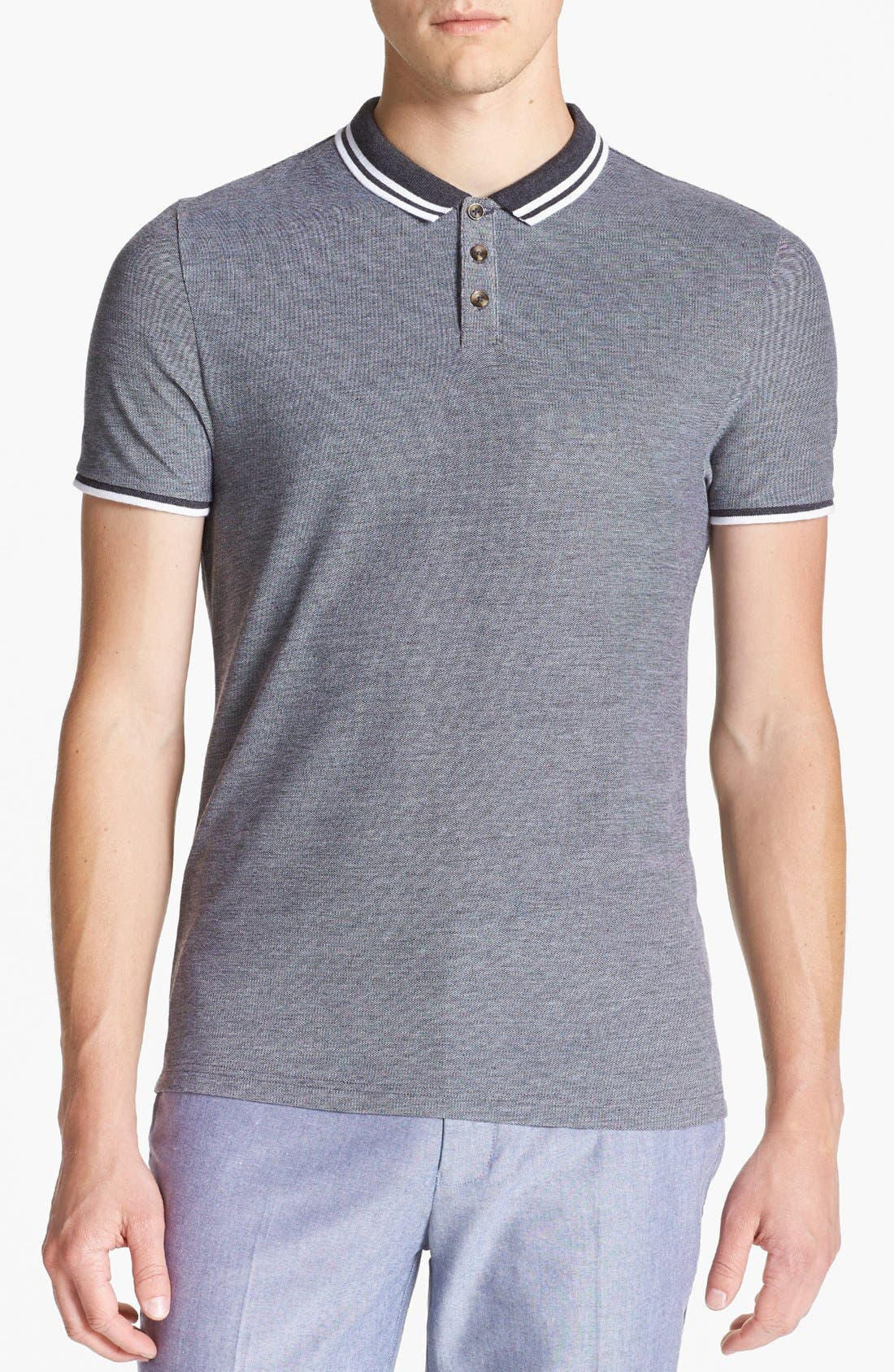 Alternate Image 1 Selected - Topman Tipped Piqué Polo