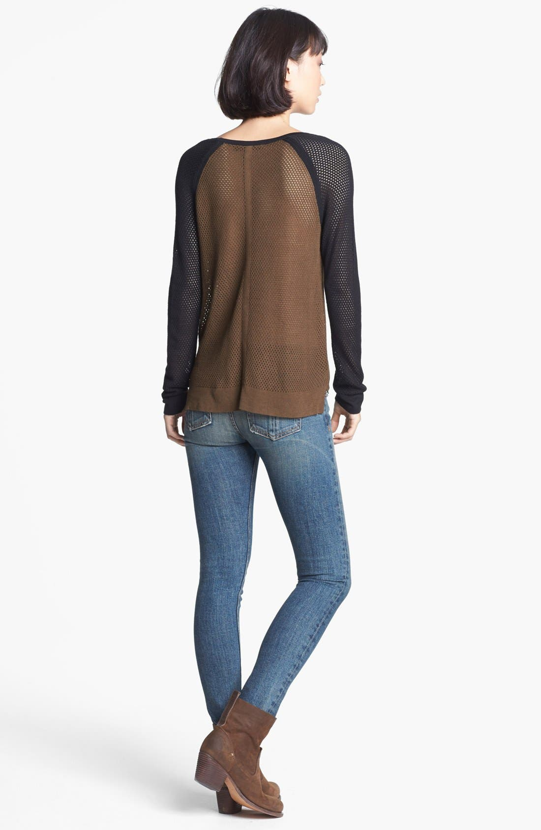 Alternate Image 2  - rag & bone/JEAN 'Genevieve' Colorblock Mesh Pullover