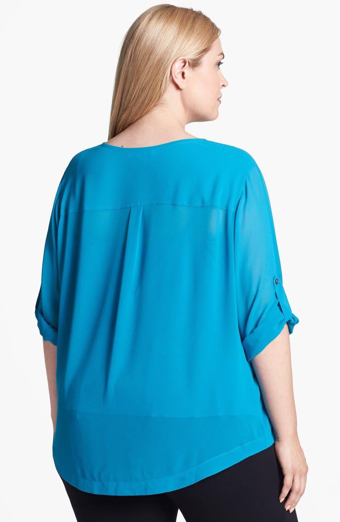 Alternate Image 3  - DKNYC Roll Sleeve Blouse (Plus Size)