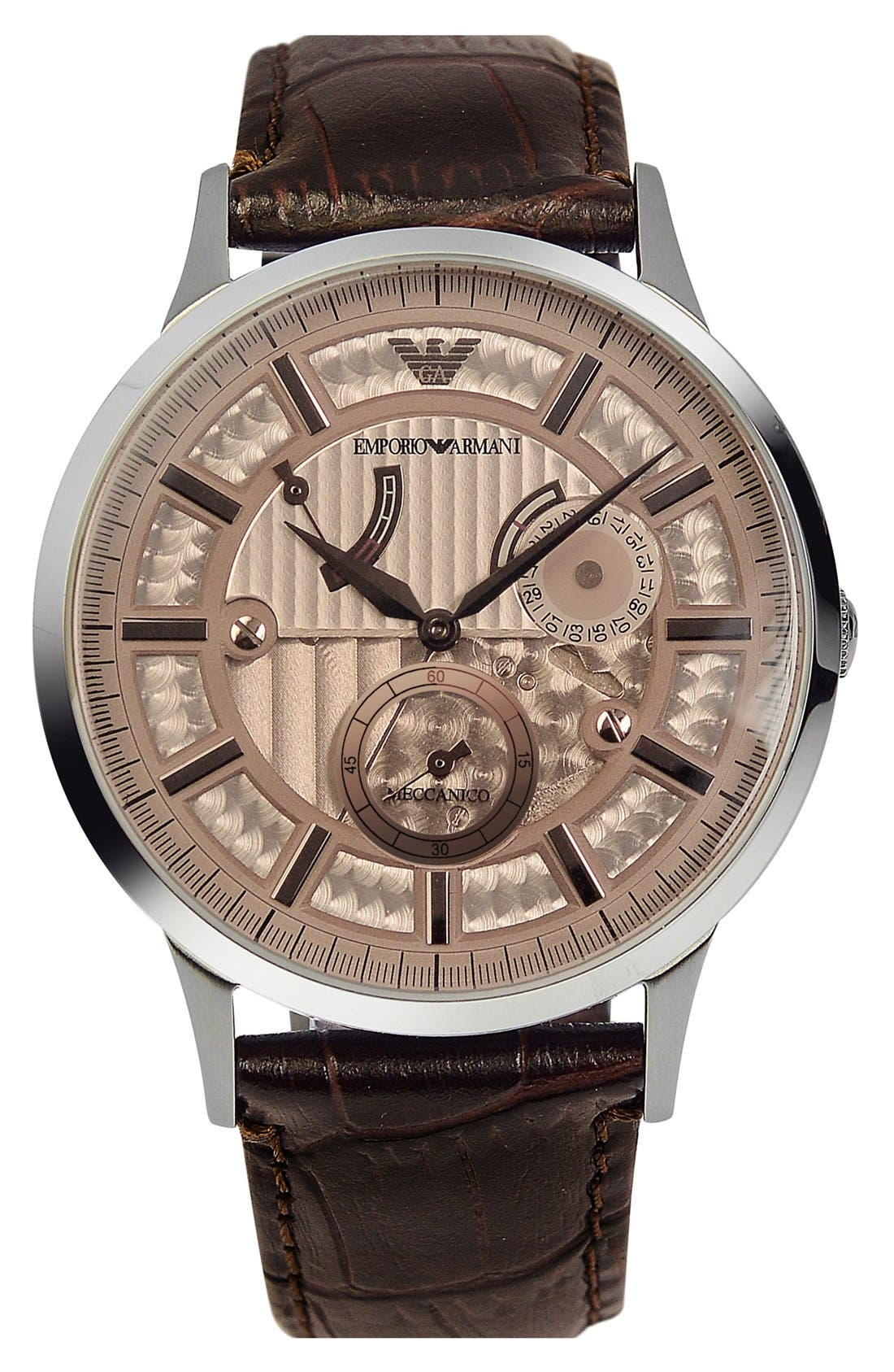 Alternate Image 1 Selected - Emporio Armani Meccanico Automatic Leather Strap Watch, 43mm