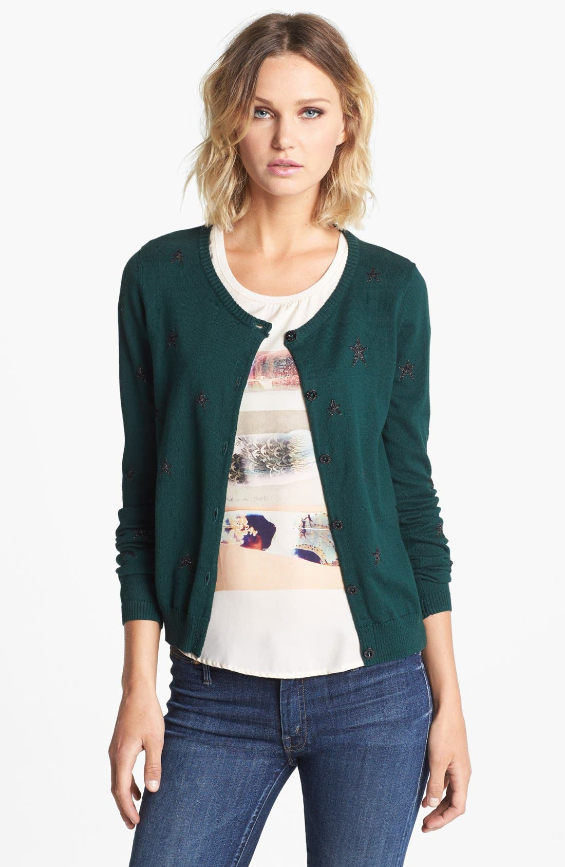 Alternate Image 1 Selected - Maison Scotch Star Pattern Knit Cardigan