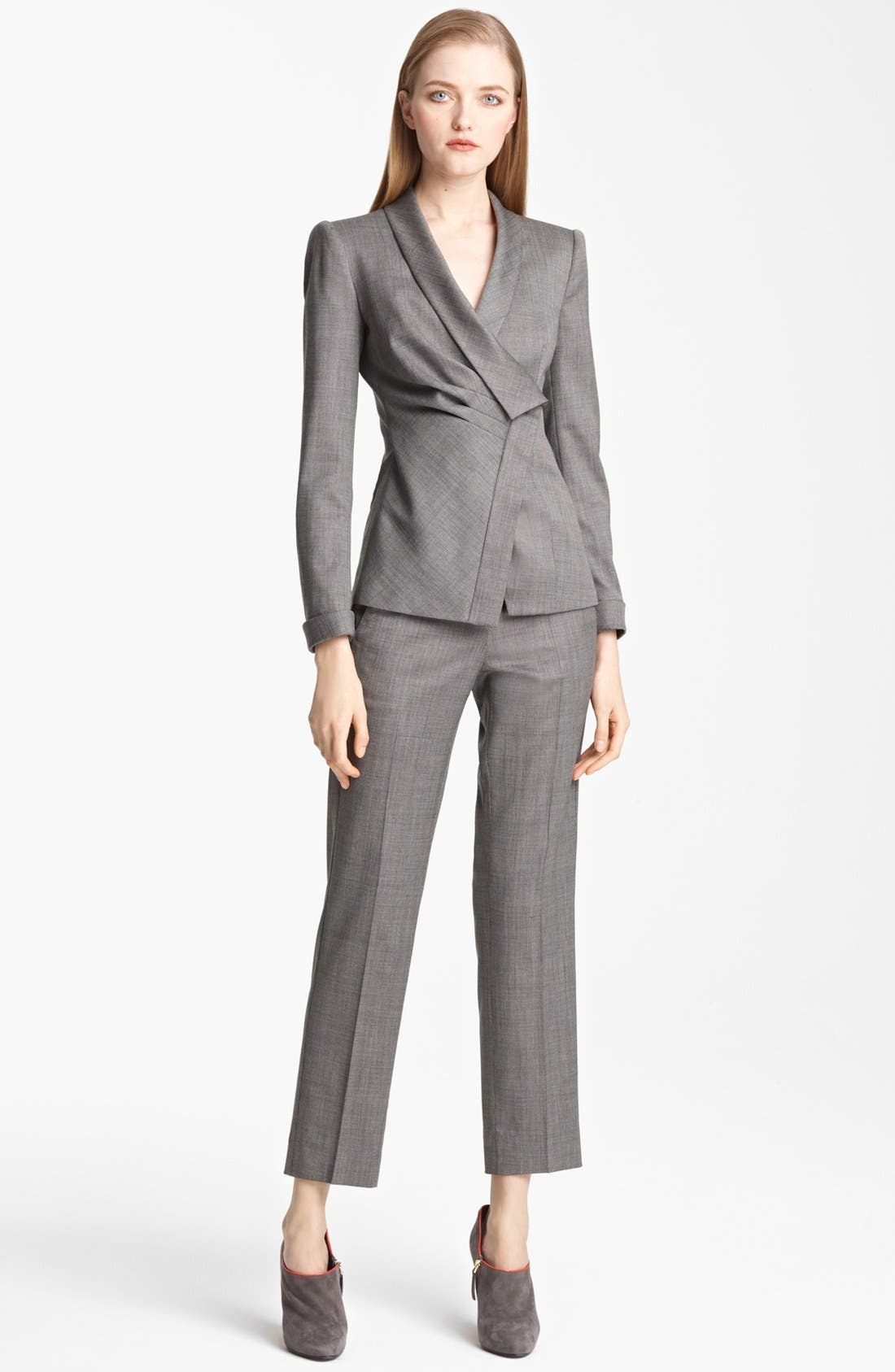 Alternate Image 2  - Armani Collezioni Asymmetrical Micro Herringbone Jacket