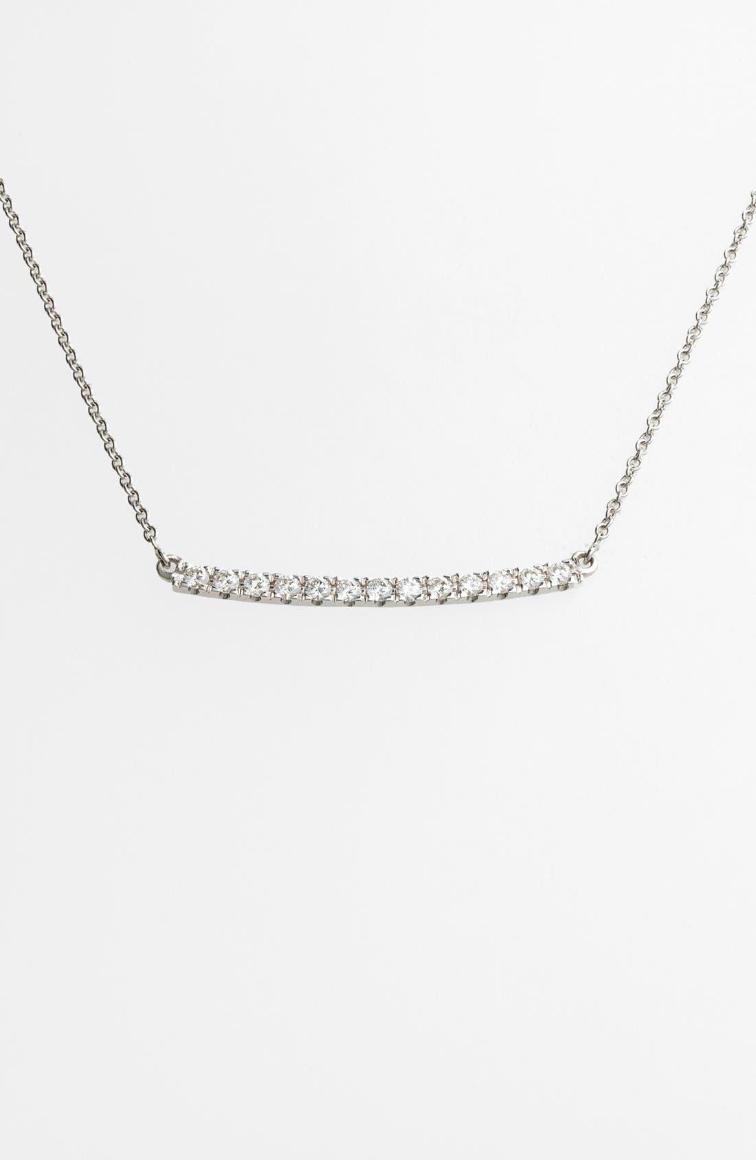 'Stick' Pavé Diamond Bar Necklace,                         Main,                         color, White Gold
