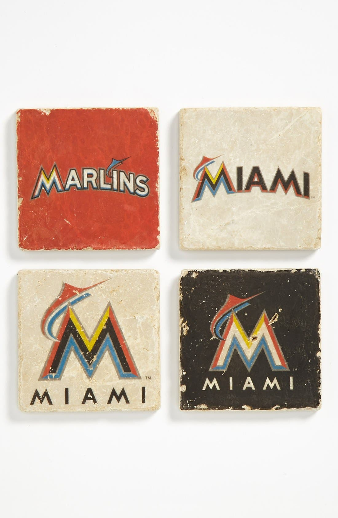Alternate Image 1 Selected - 'Miami Marlins' Marble Coasters (Set of 4)