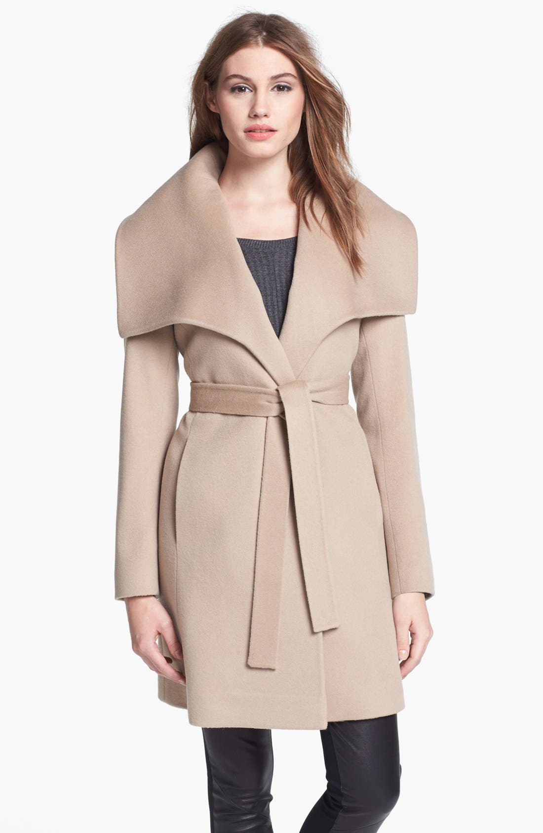 Alternate Image 1 Selected - Fleurette Oversized Collar Wool Wrap Coat