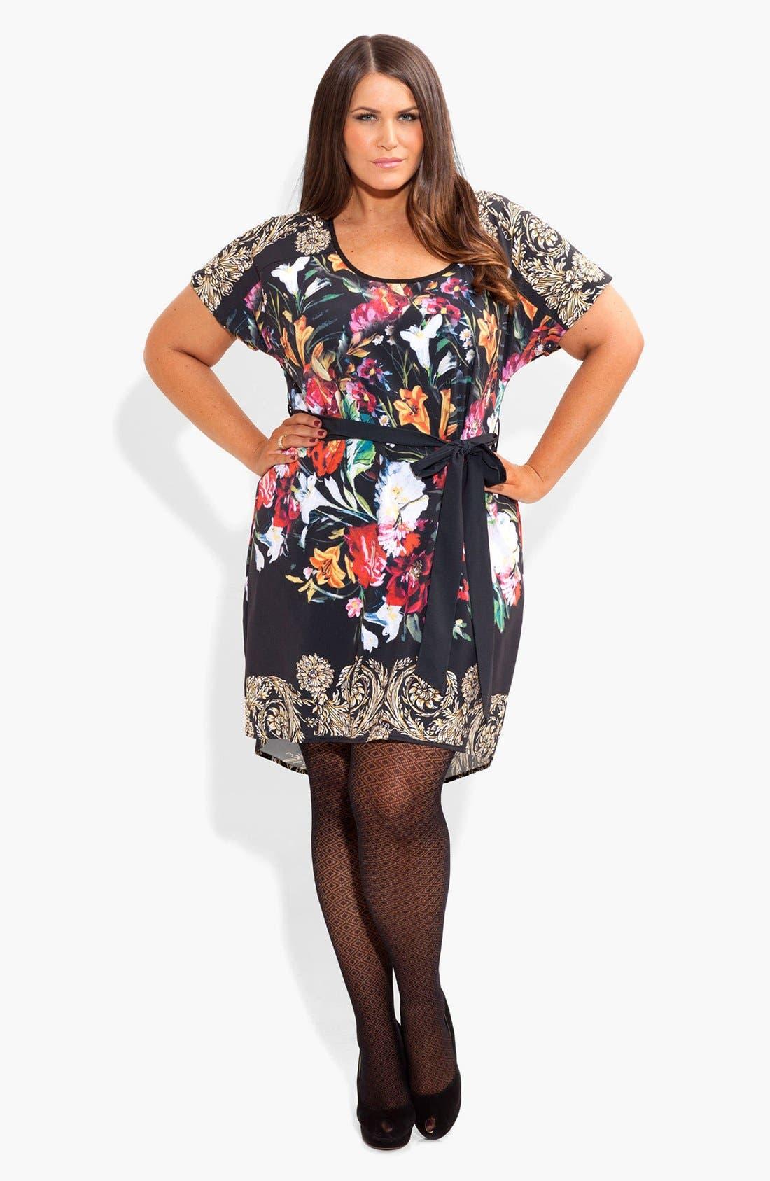 Alternate Image 1 Selected - City Chic 'Still Life' Print Tunic Dress (Plus Size)