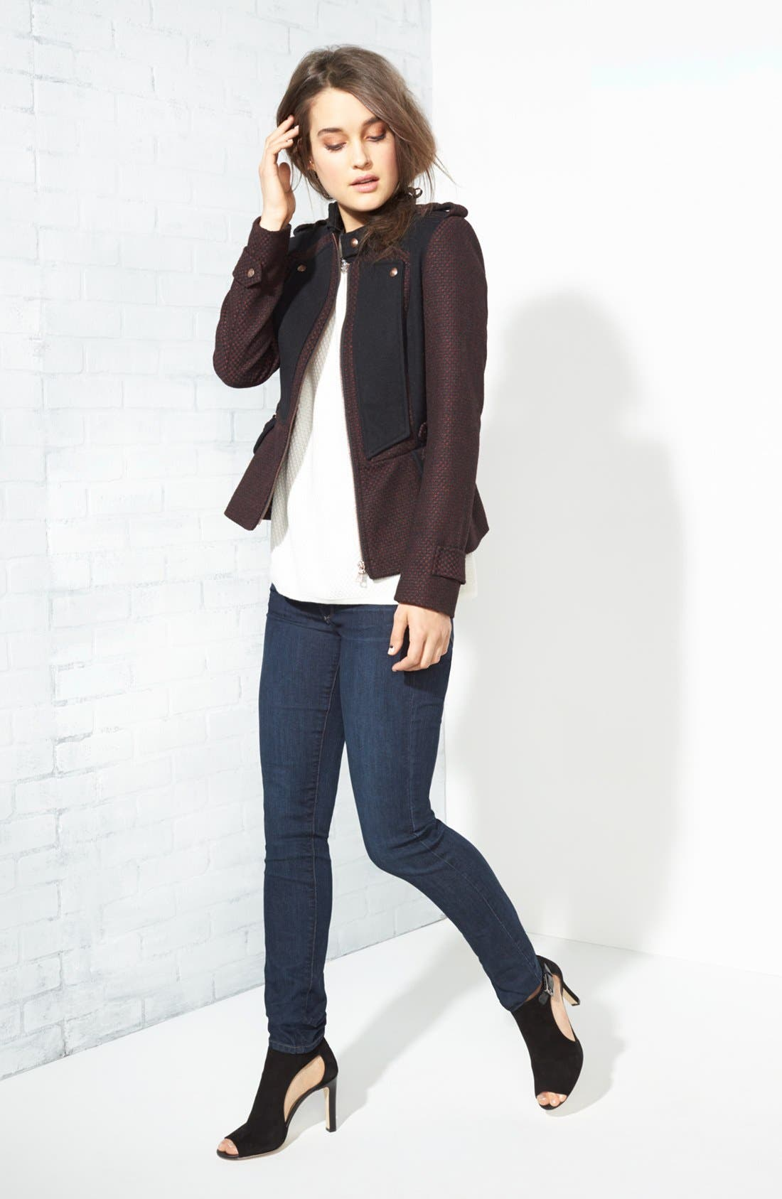 Alternate Image 1 Selected - Sam Edelman Jacket, Hinge® Sweater & Paige Denim Jeans