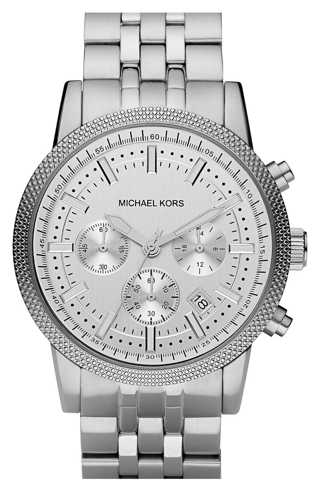 Michael Kors Knurling Edge Stainless Steel Watch, 42mm,                             Main thumbnail 1, color,                             Silver