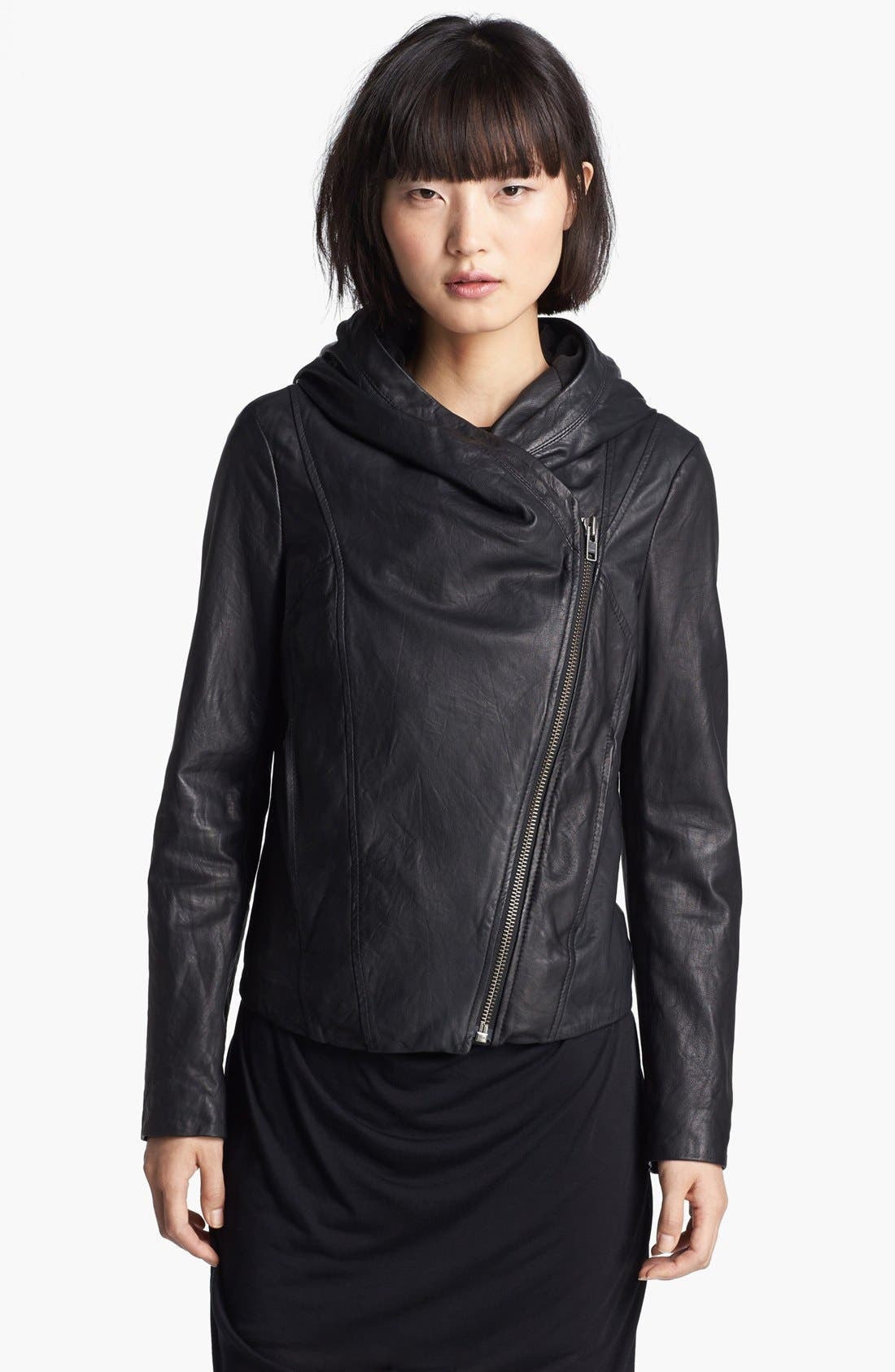 Main Image - HELMUT Helmut Lang Hooded Washed Leather Jacket