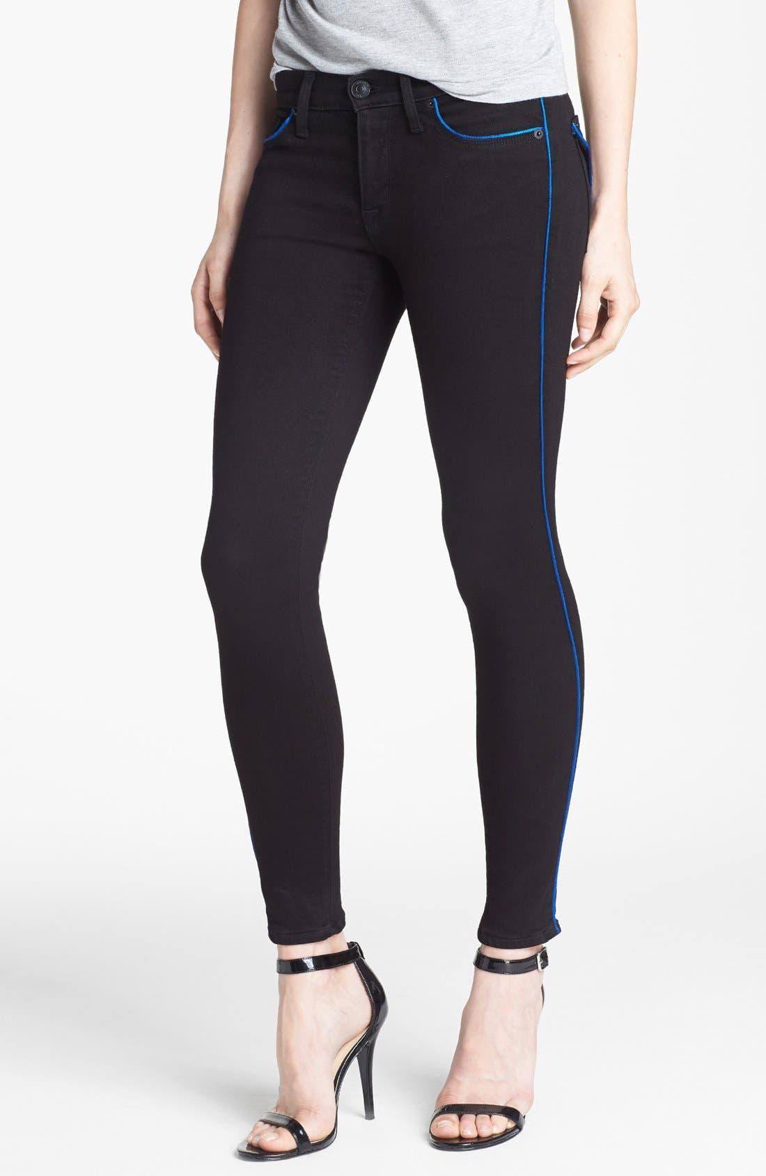 Alternate Image 1 Selected - Hudson Jeans Piped Super Skinny Jeans (Cadet)