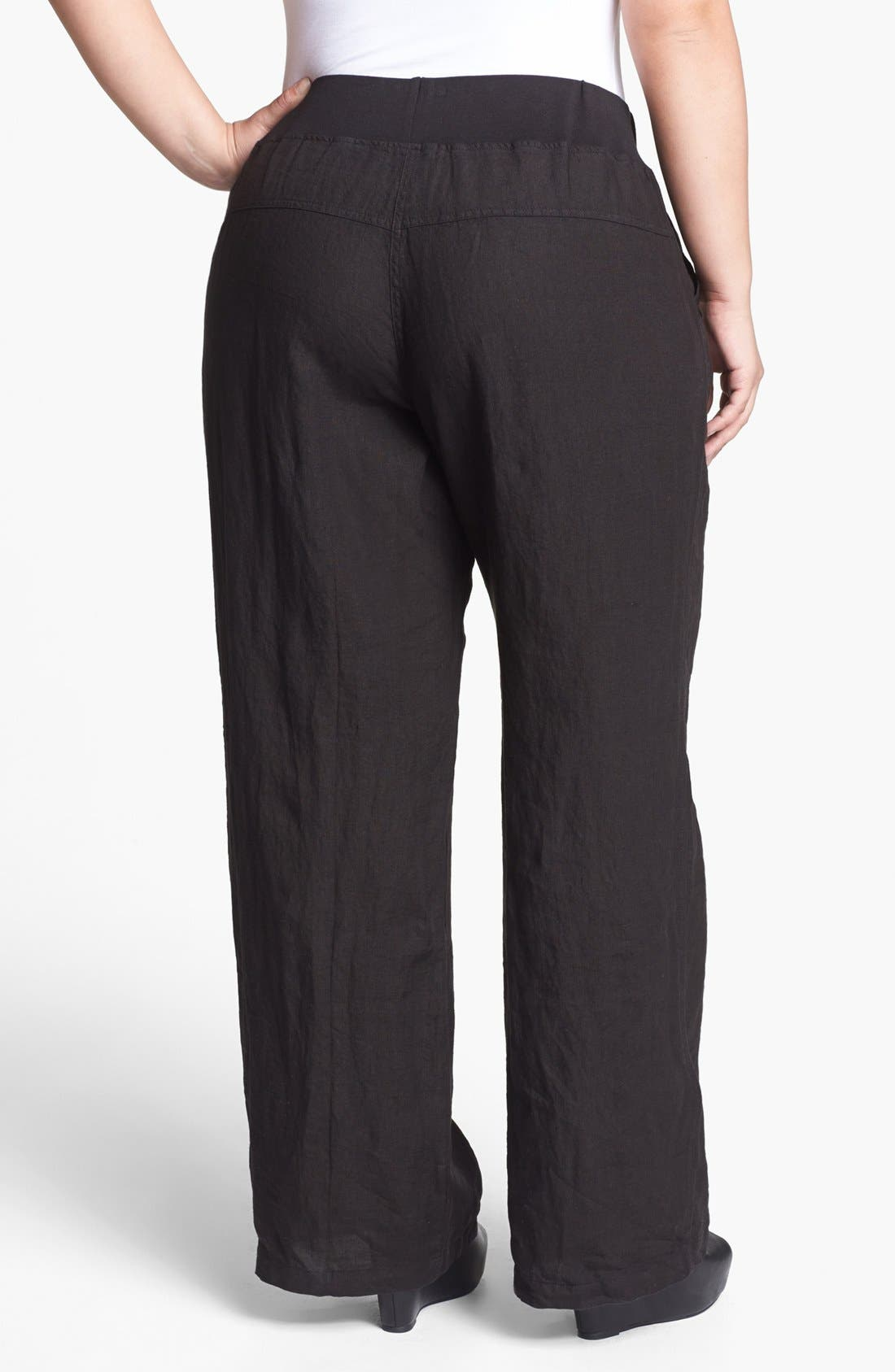 Alternate Image 2  - Allen Allen Wide Leg Linen Pants (Plus Size)